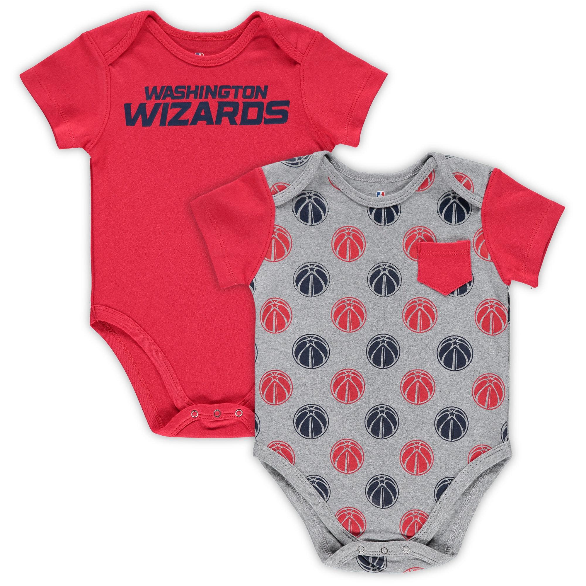 Washington Wizards Infant Little Baller 2-Pack Bodysuit Set - Red/Heathered Gray