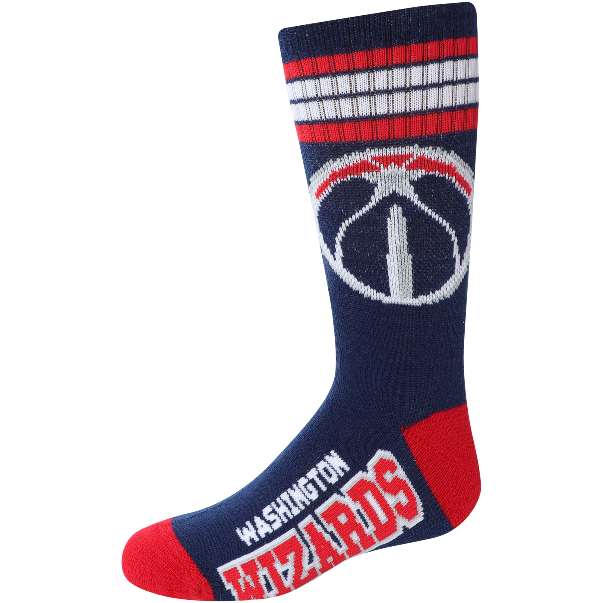 Washington Wizards For Bare Feet Youth 4-Stripe Deuce Quarter-Length Socks