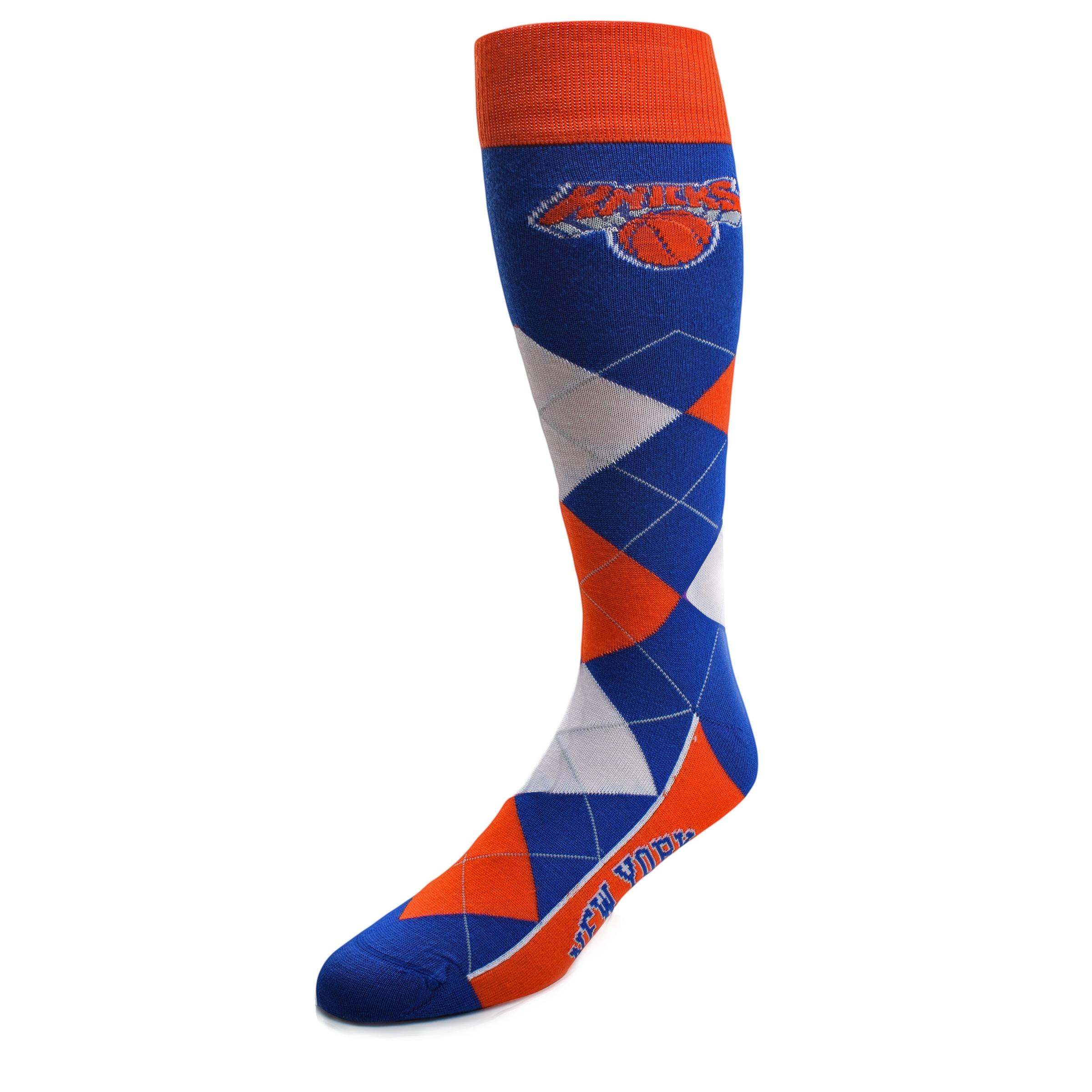 New York Knicks For Bare Feet Argyle Crew Socks