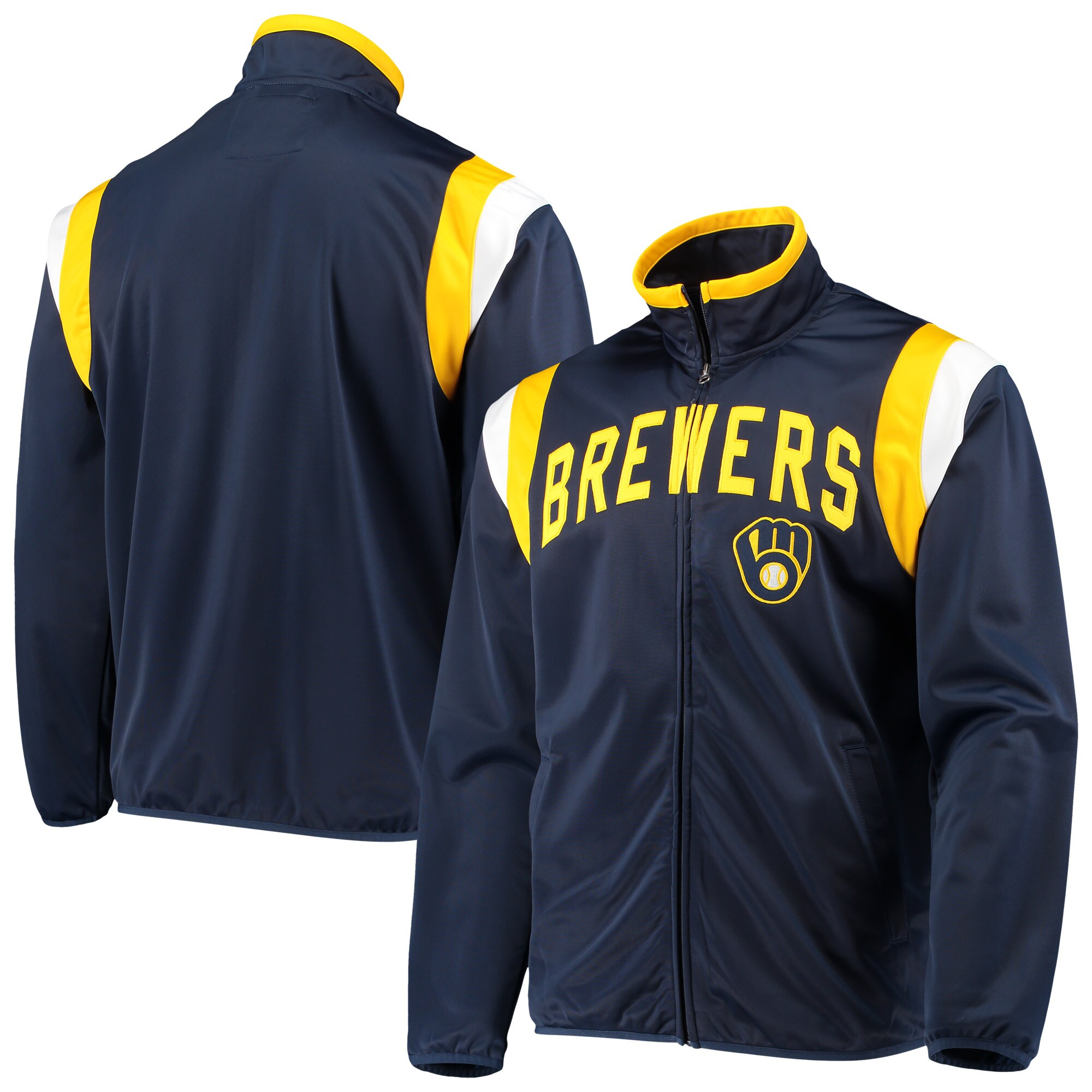 Milwaukee Brewers G-III Sports by Carl Banks Post Up Full-Zip Track Jacket - Navy