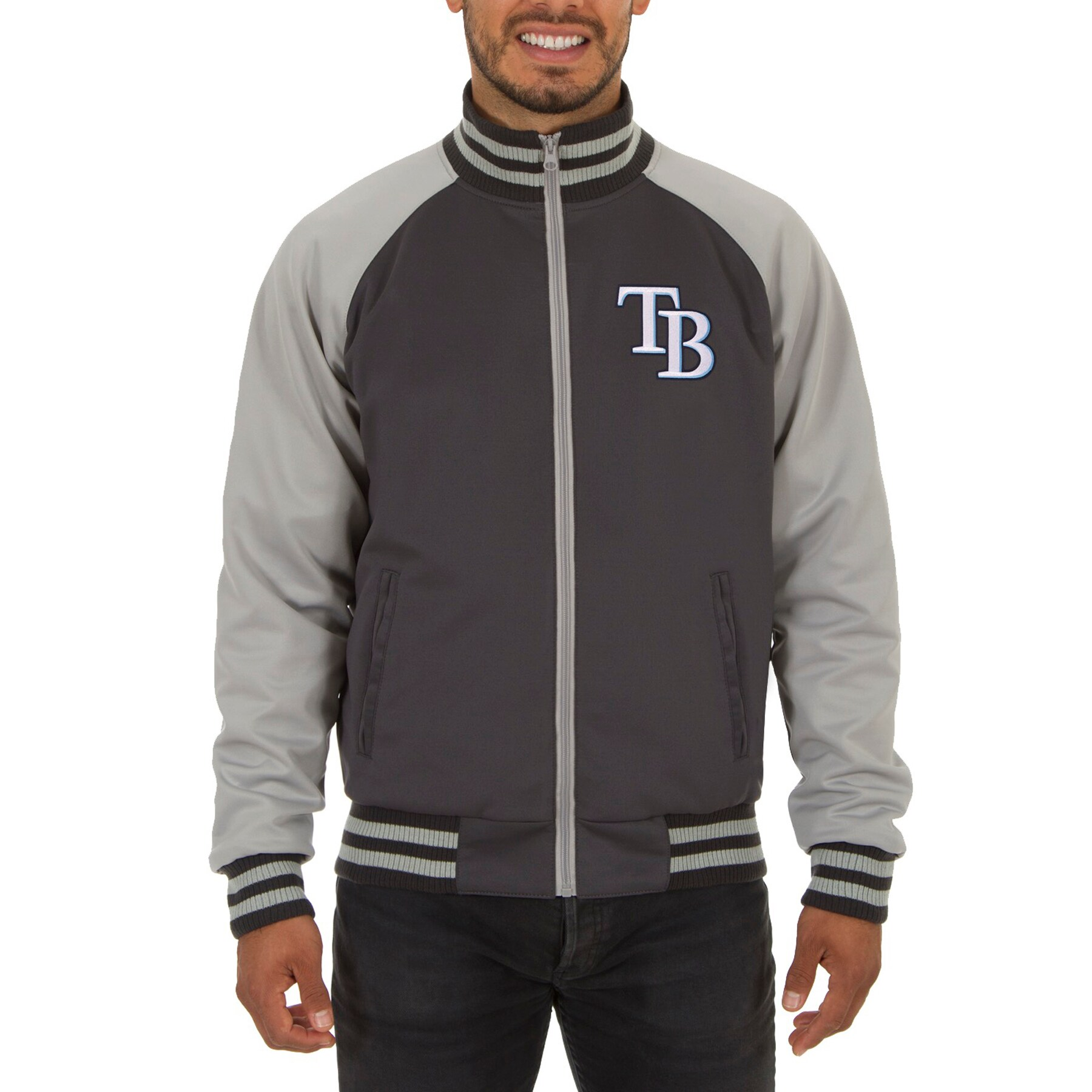 Tampa Bay Rays JH Design Reversible Track Jacket - Gray