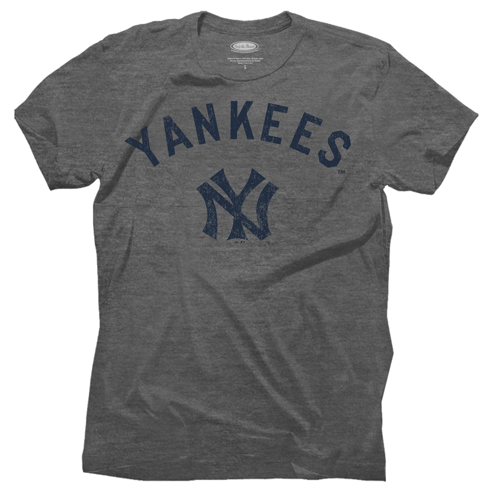 New York Yankees Majestic Threads Granite Tri-Blend Crew T-Shirt - Gray