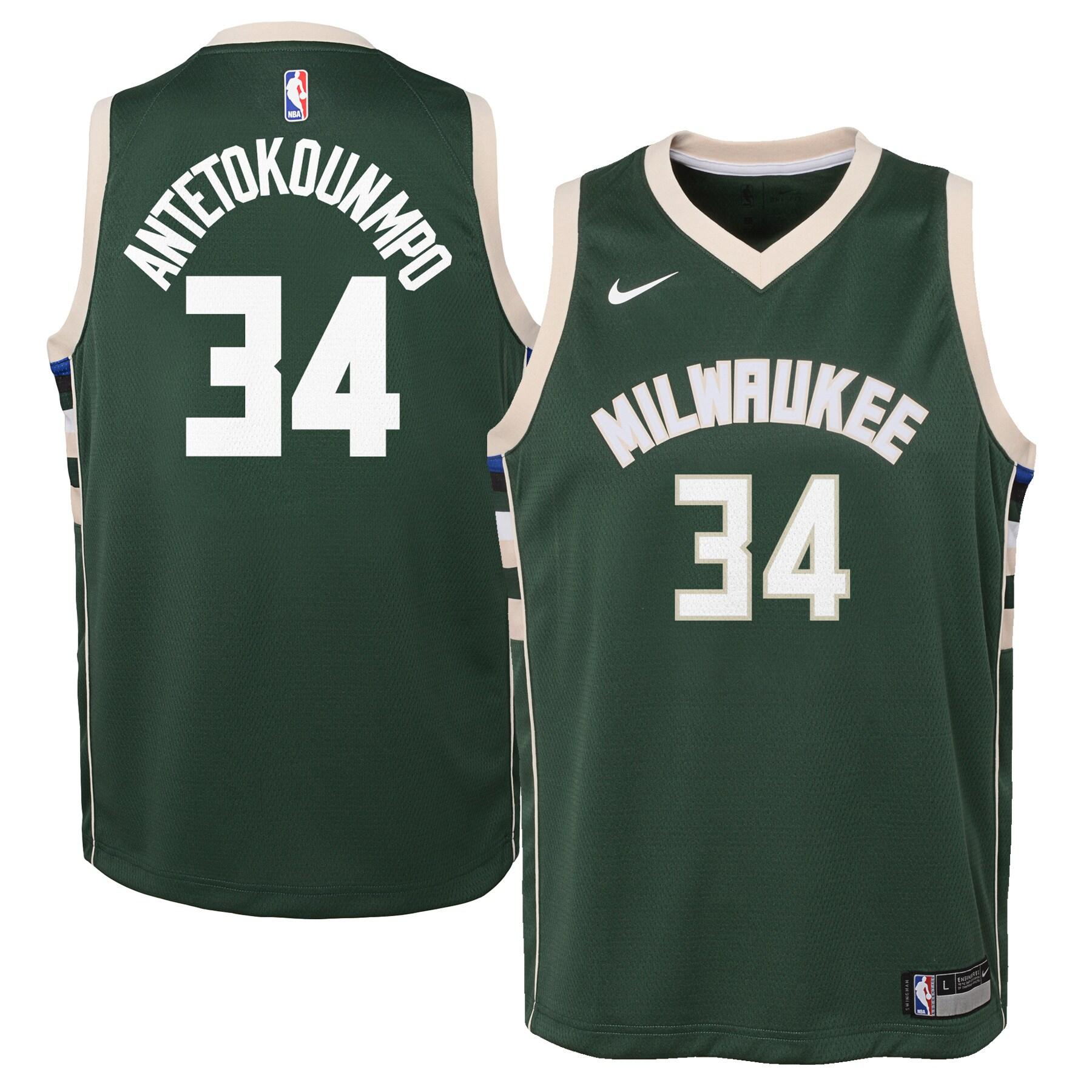 Giannis Antetokounmpo Milwaukee Bucks Nike Youth Swingman Jersey Green - Icon Edition