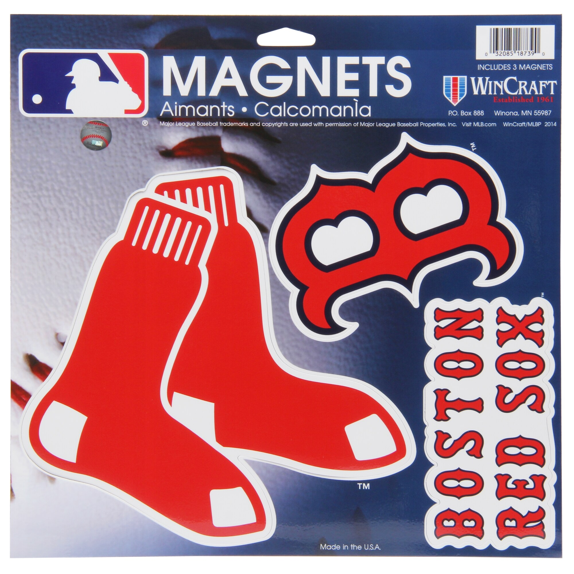 "Boston Red Sox WinCraft 11"" X 11"" 3pk Car Magnets"