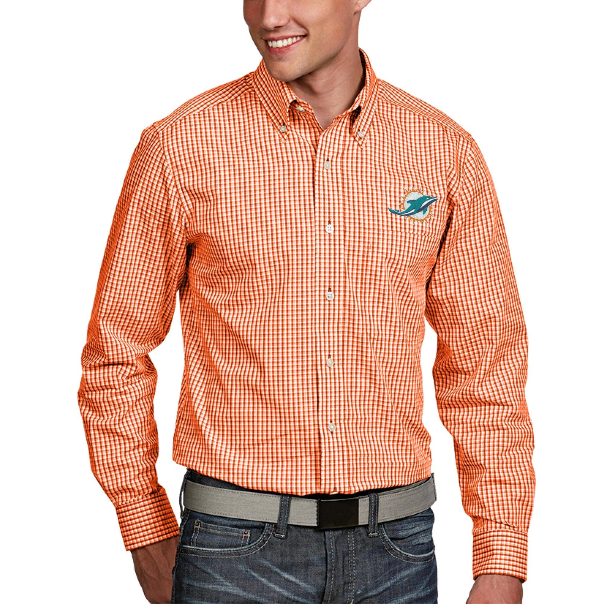 Miami Dolphins Antigua Associate Woven Long Sleeve Button-Down Shirt - Orange