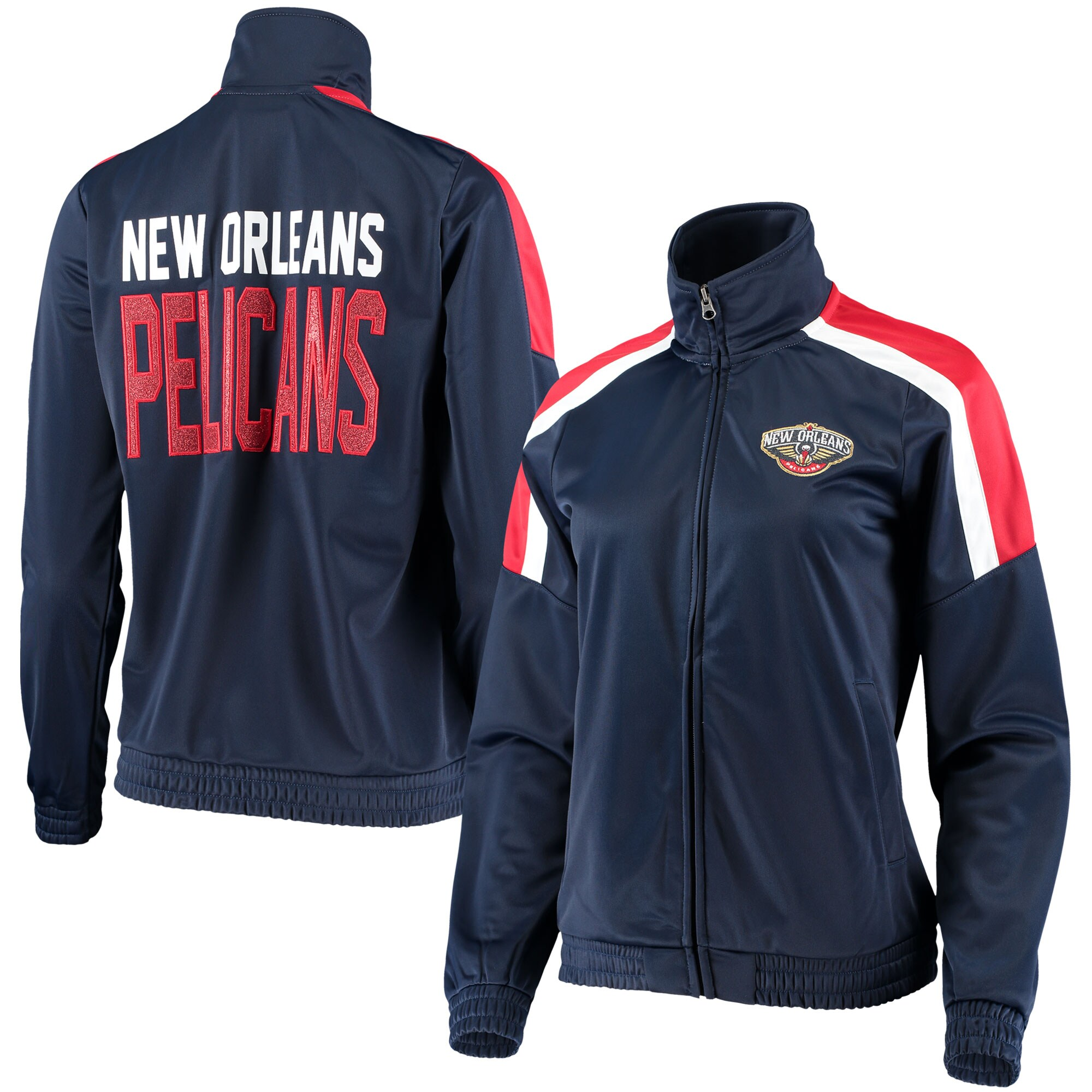 New Orleans Pelicans G-III 4Her by Carl Banks Women's Jump Shot Full-Zip Track Jacket - Navy