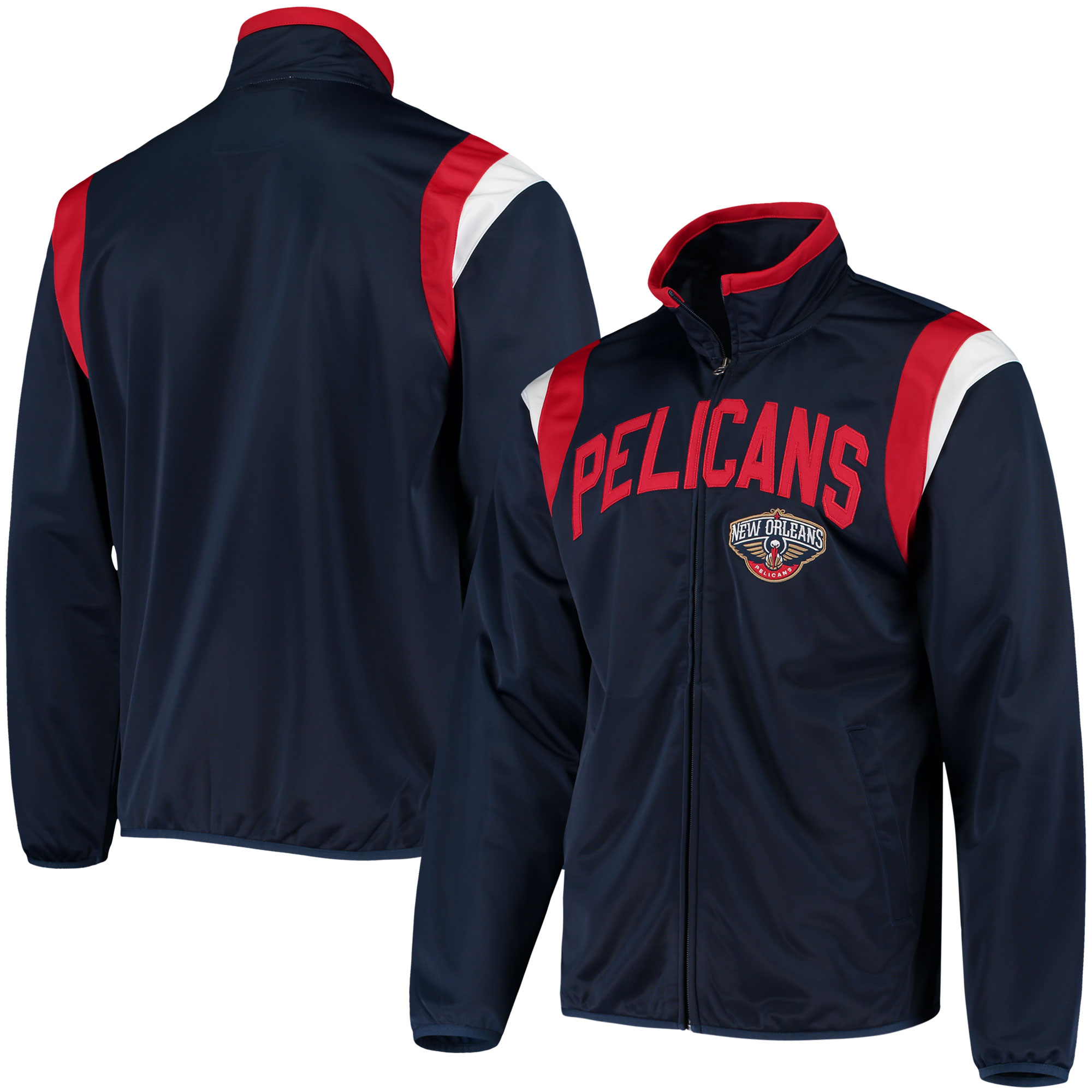 New Orleans Pelicans G-III Sports by Carl Banks Post Up Tricot Full-Zip Track Jacket - Navy