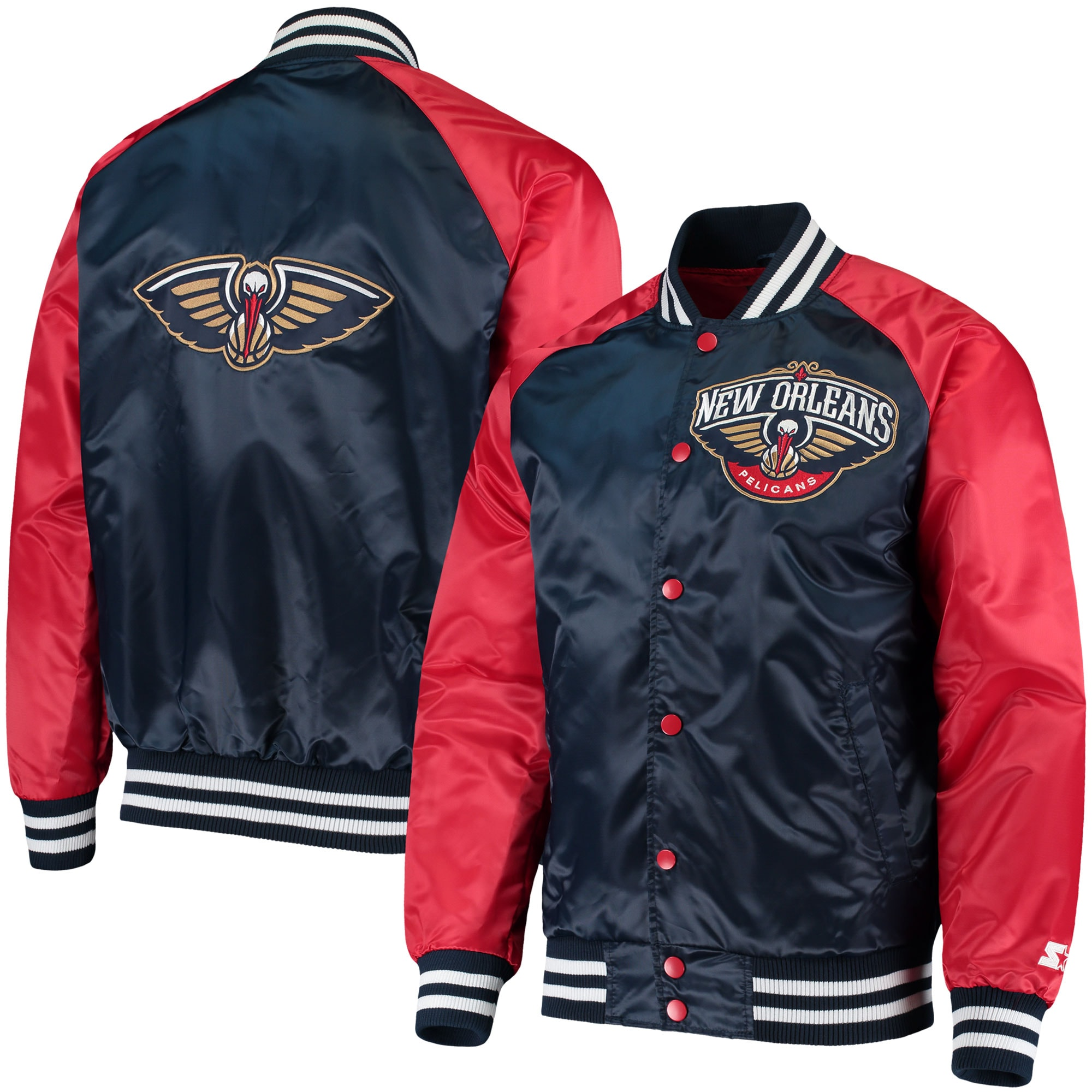 New Orleans Pelicans Starter Point Guard Satin Full-Snap Jacket - Navy/Red