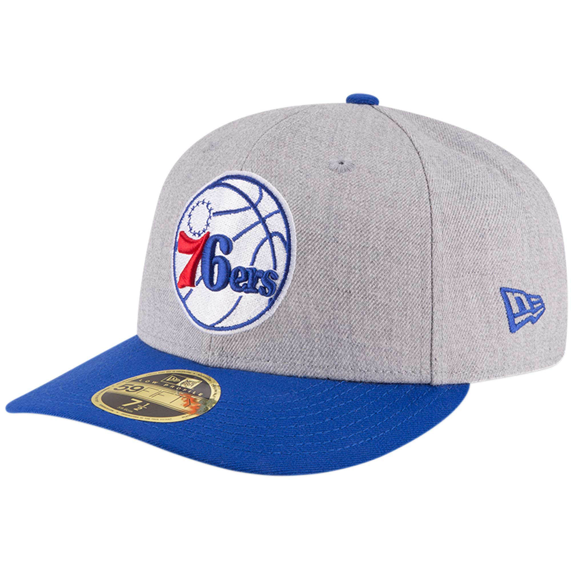 Philadelphia 76ers New Era Two-Tone Low Profile 59FIFTY Fitted Hat - Heathered Gray/Royal