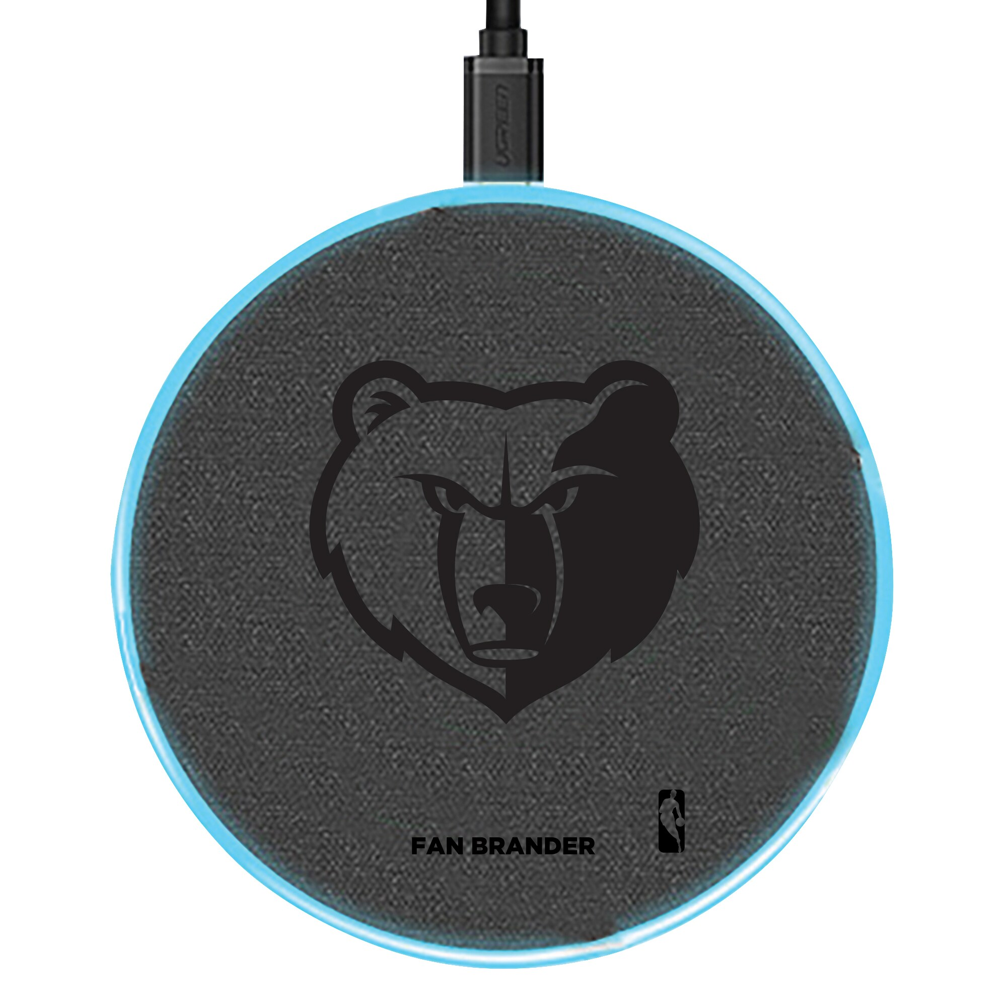 Memphis Grizzlies 15W Laser Etched Wireless Charging Base - Gray