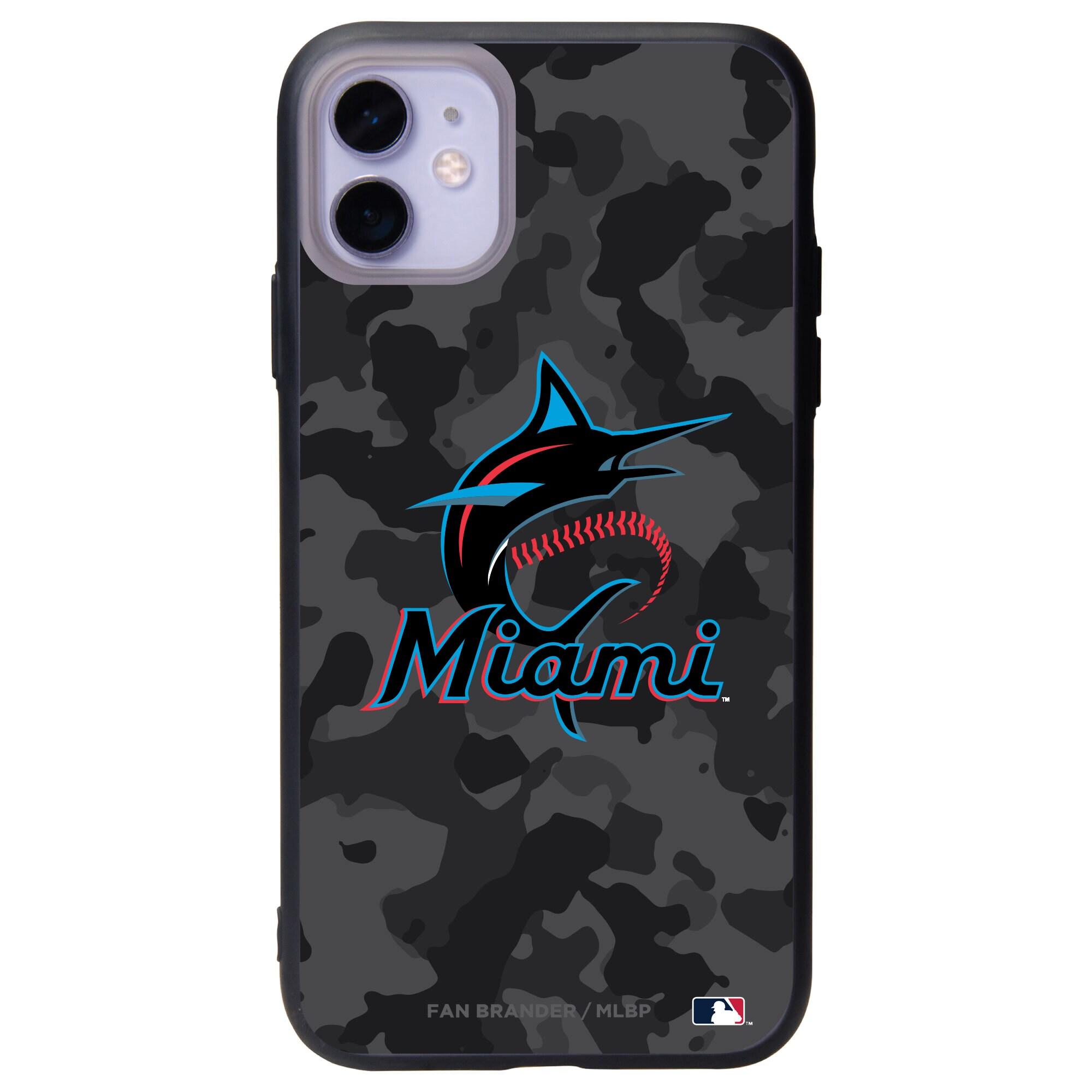 Miami Marlins Black Slate Urban Camo iPhone Case