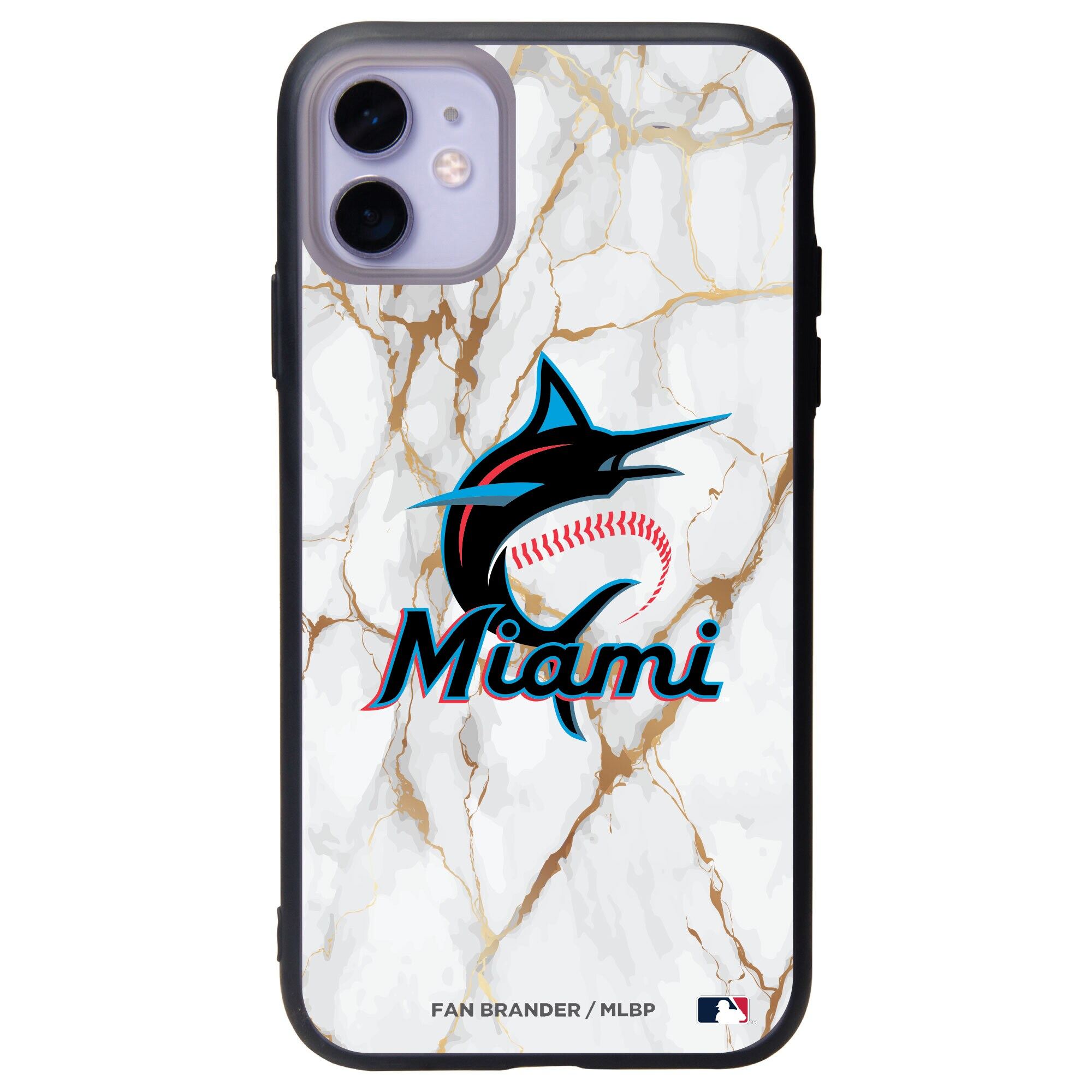 Miami Marlins Black Slate White Marble iPhone Case