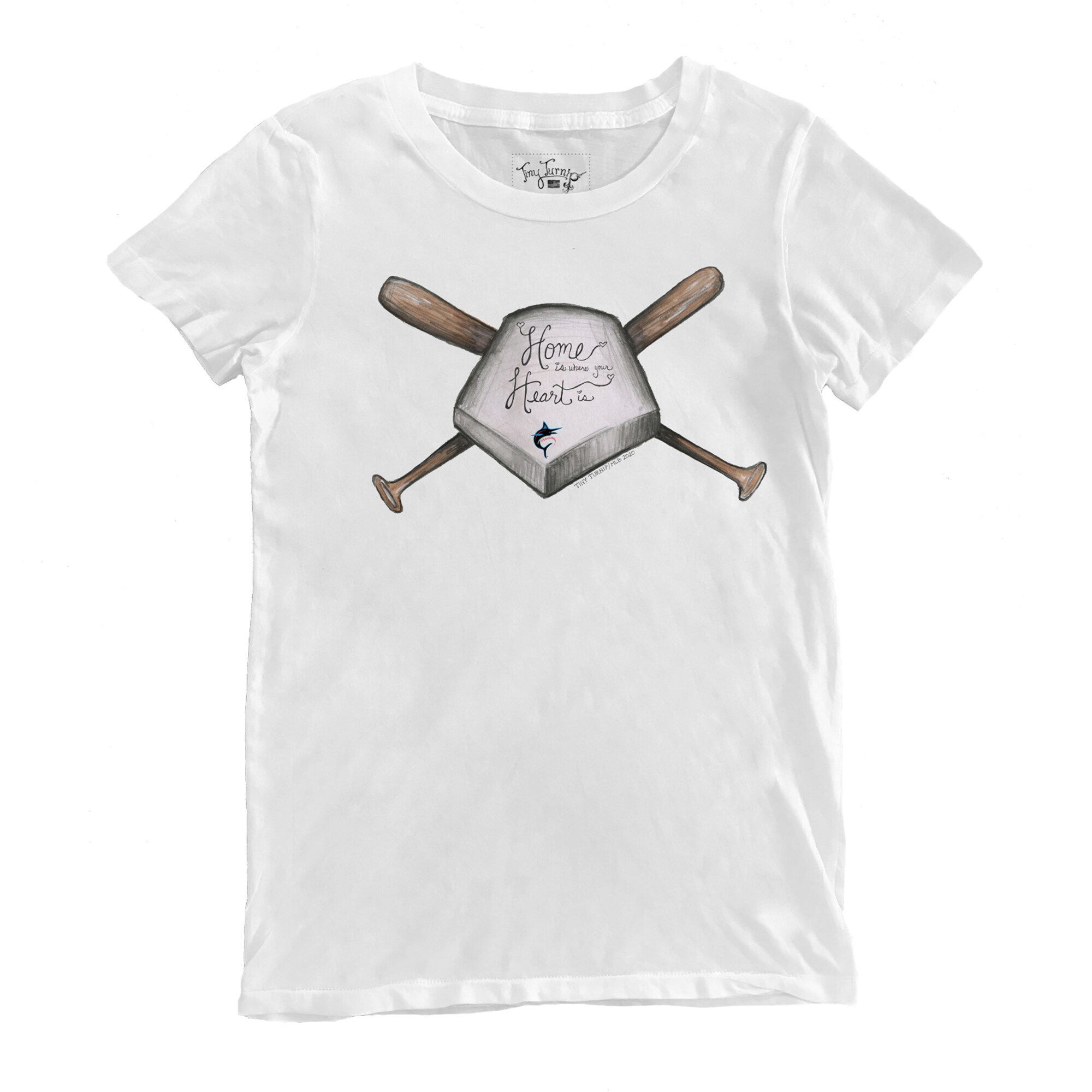 Miami Marlins Tiny Turnip Women's Home Is Where Your Heart Is T-Shirt - White