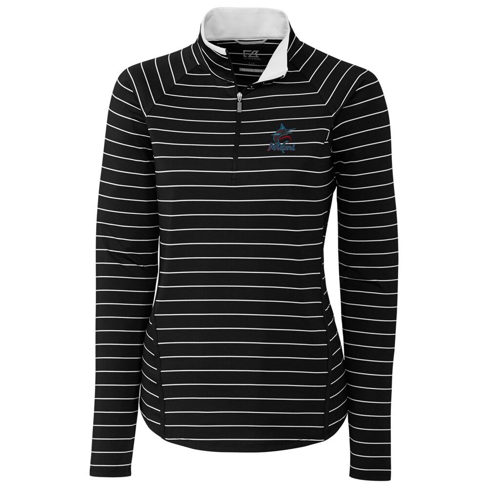 Miami Marlins Cutter & Buck Women's Long Sleeve Evie Half-Zip Pullover Jacket - Black