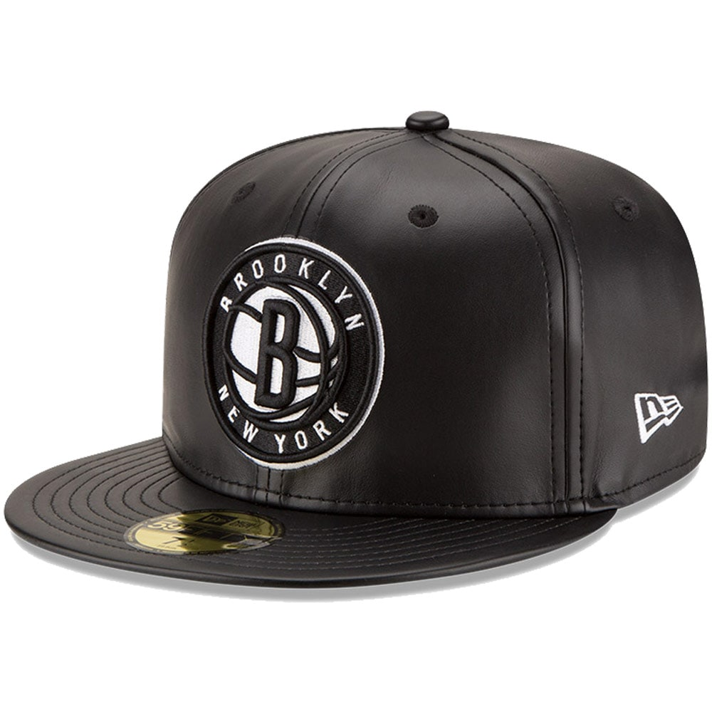 Brooklyn Nets New Era Leather 59FIFTY Fitted Hat - Black