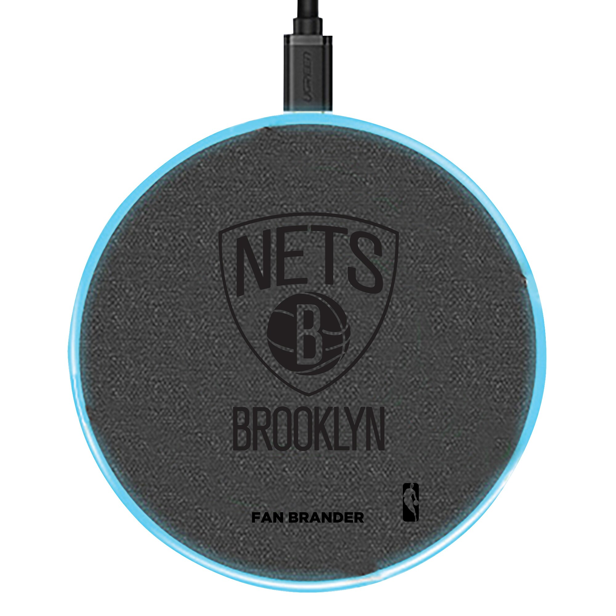 Brooklyn Nets 15W Laser Etched Wireless Charging Base - Gray
