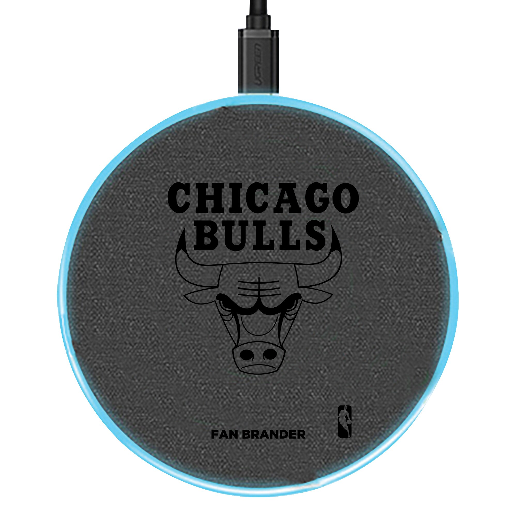 Chicago Bulls 15W Laser Etched Wireless Charging Base - Gray