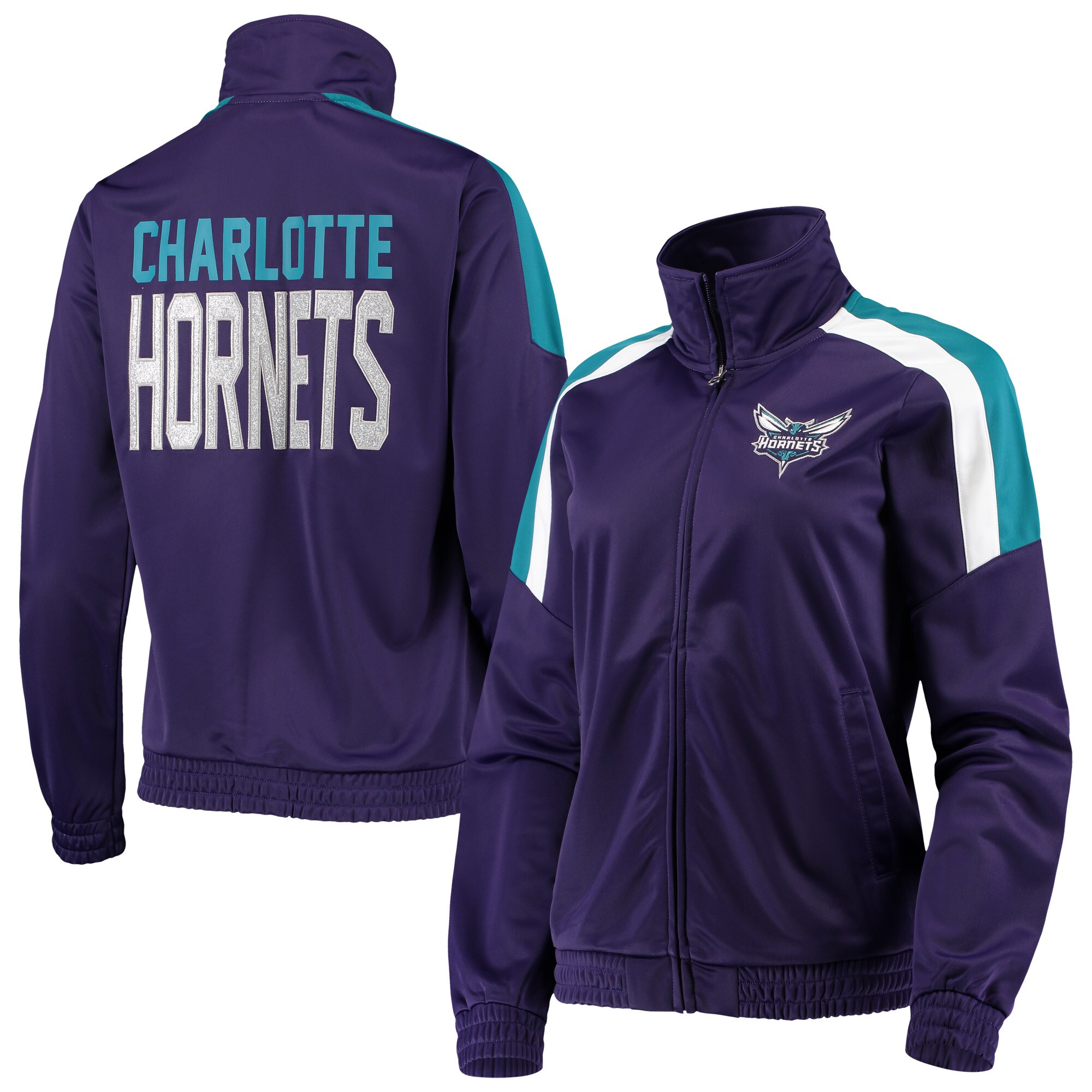 Charlotte Hornets G-III 4Her by Carl Banks Women's Jump Shot Full-Zip Track Jacket - Purple