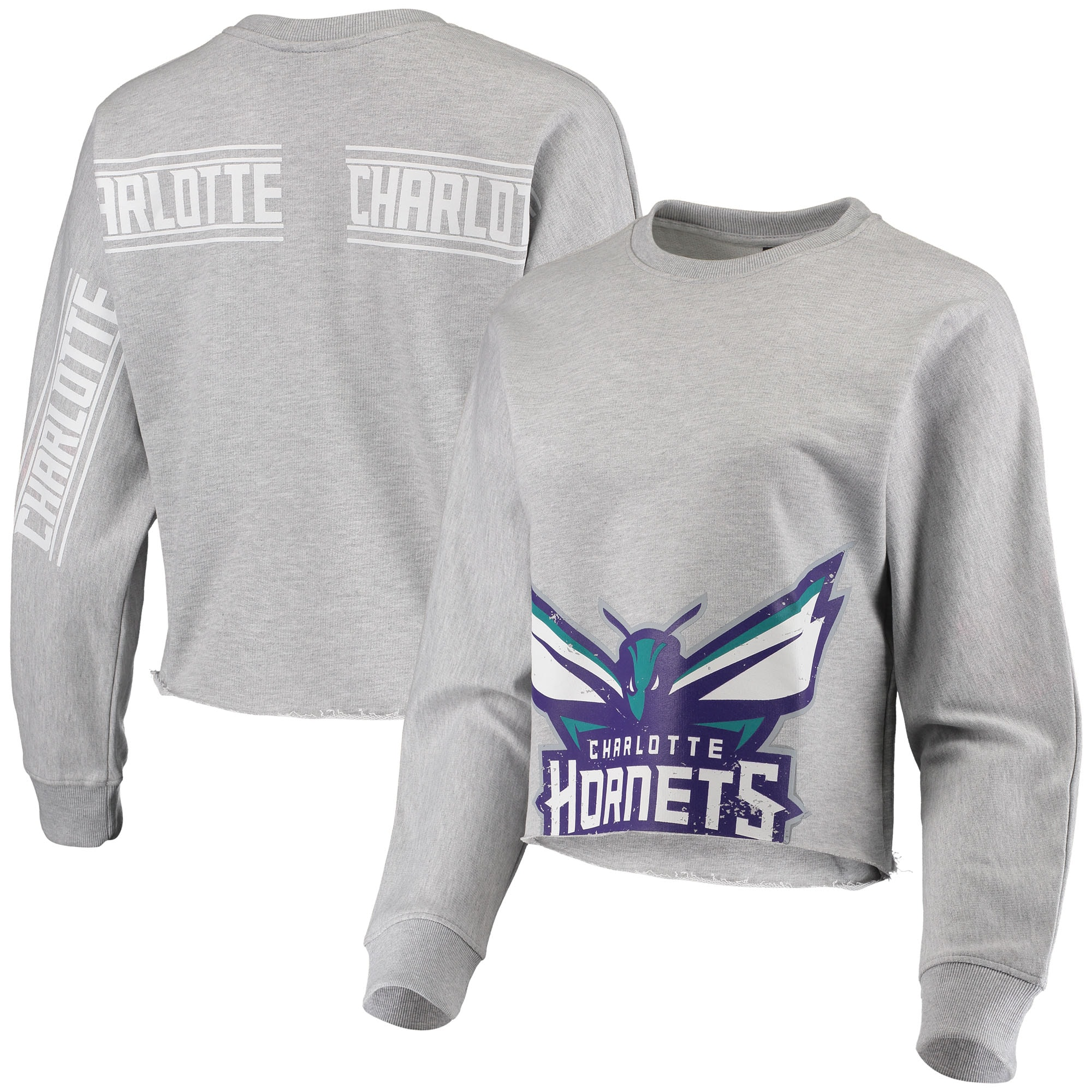 Charlotte Hornets Women's Cropped Long Sleeve T-Shirt - Gray