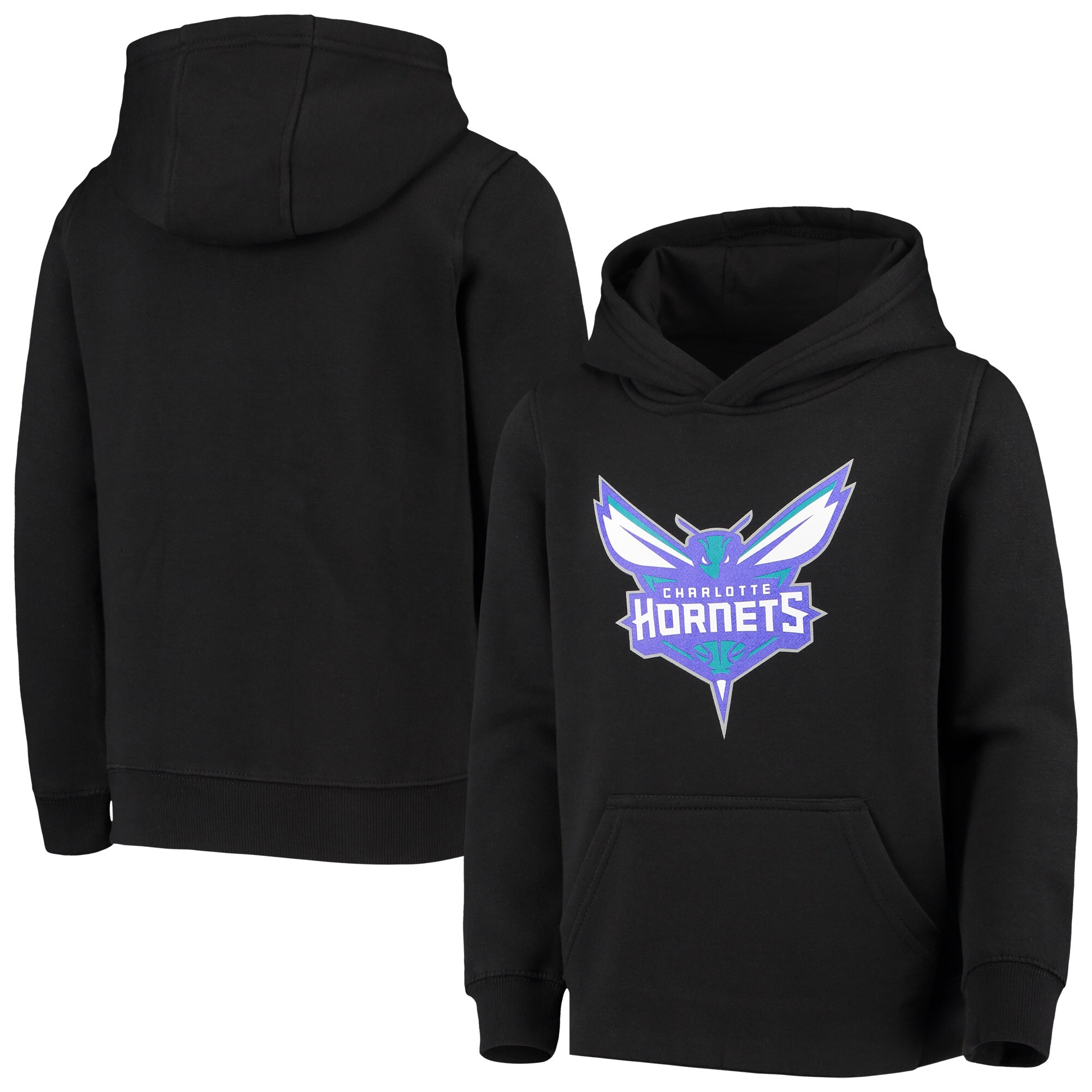 Charlotte Hornets Youth Primary Logo Fleece Pullover Hoodie - Black
