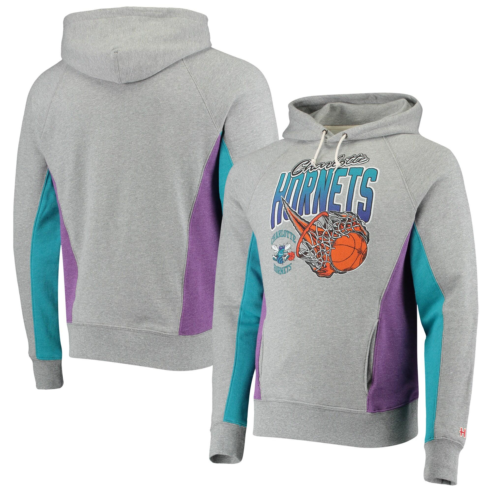 Charlotte Hornets Homage On Fire Raglan Tri-Blend Pullover Hoodie - Gray