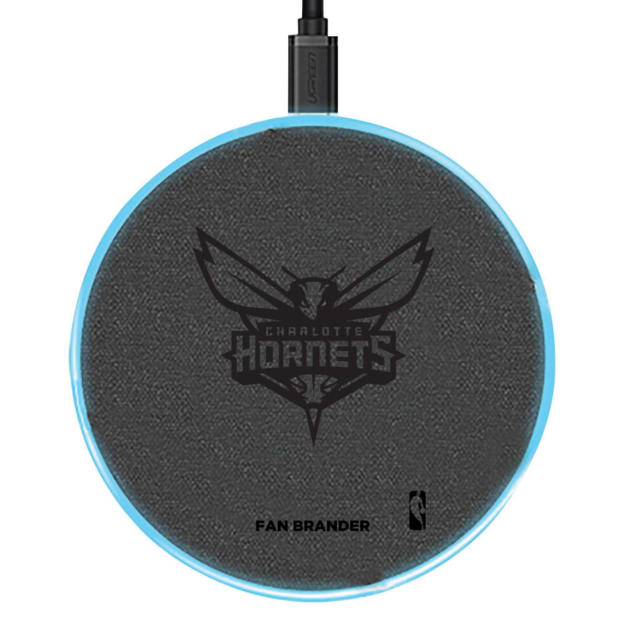 Charlotte Hornets 15W Laser Etched Wireless Charging Base - Gray