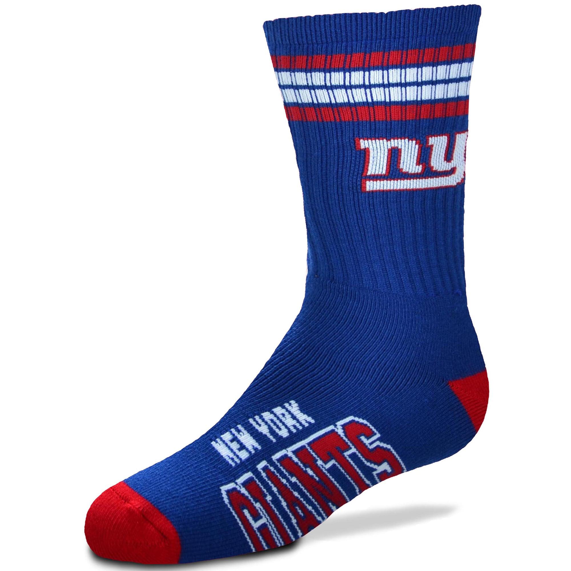 New York Giants For Bare Feet Youth 4-Stripe Deuce Quarter-Length Socks