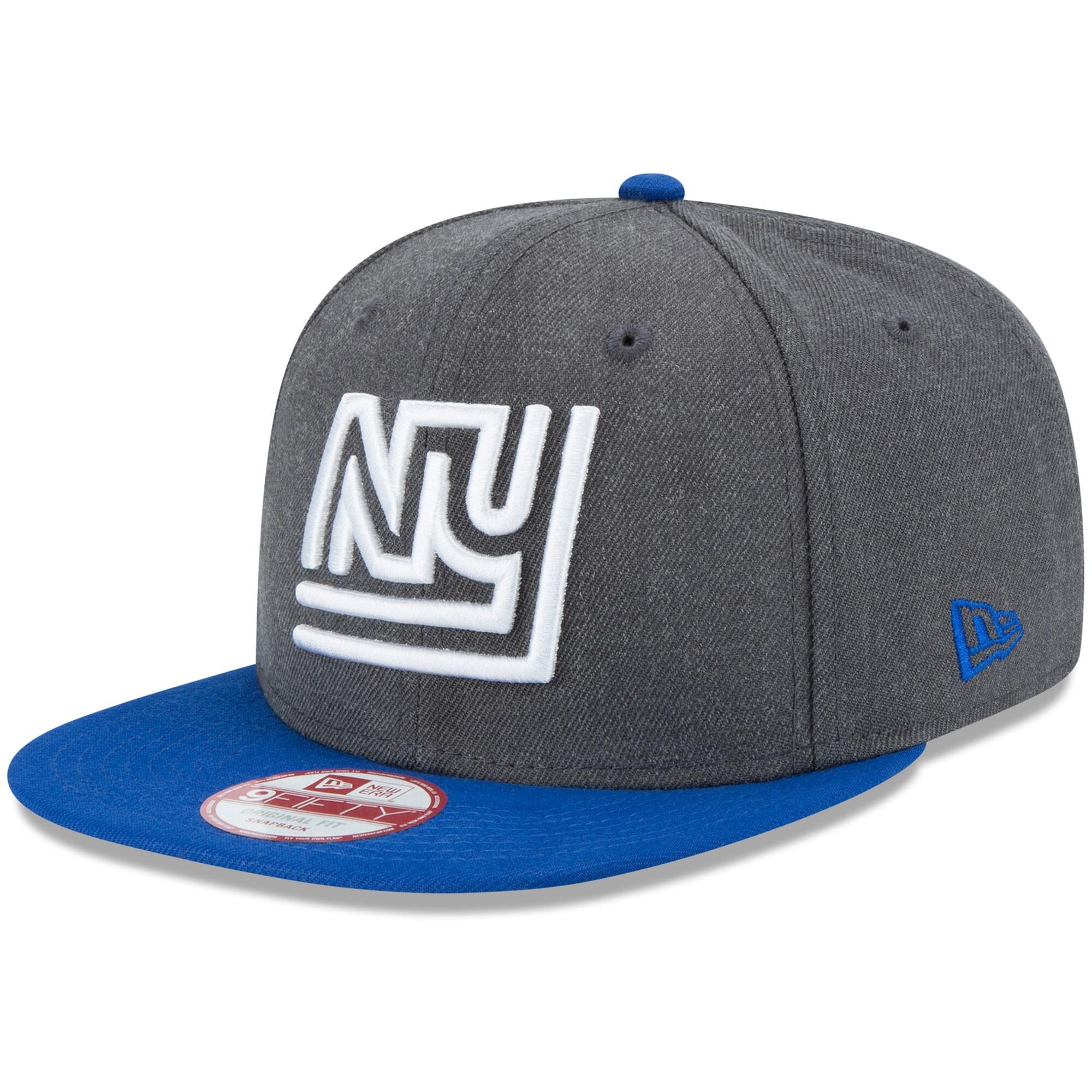 New York Giants New Era Historic 9FIFTY Adjustable Snapback Hat - Heathered Charcoal/Royal