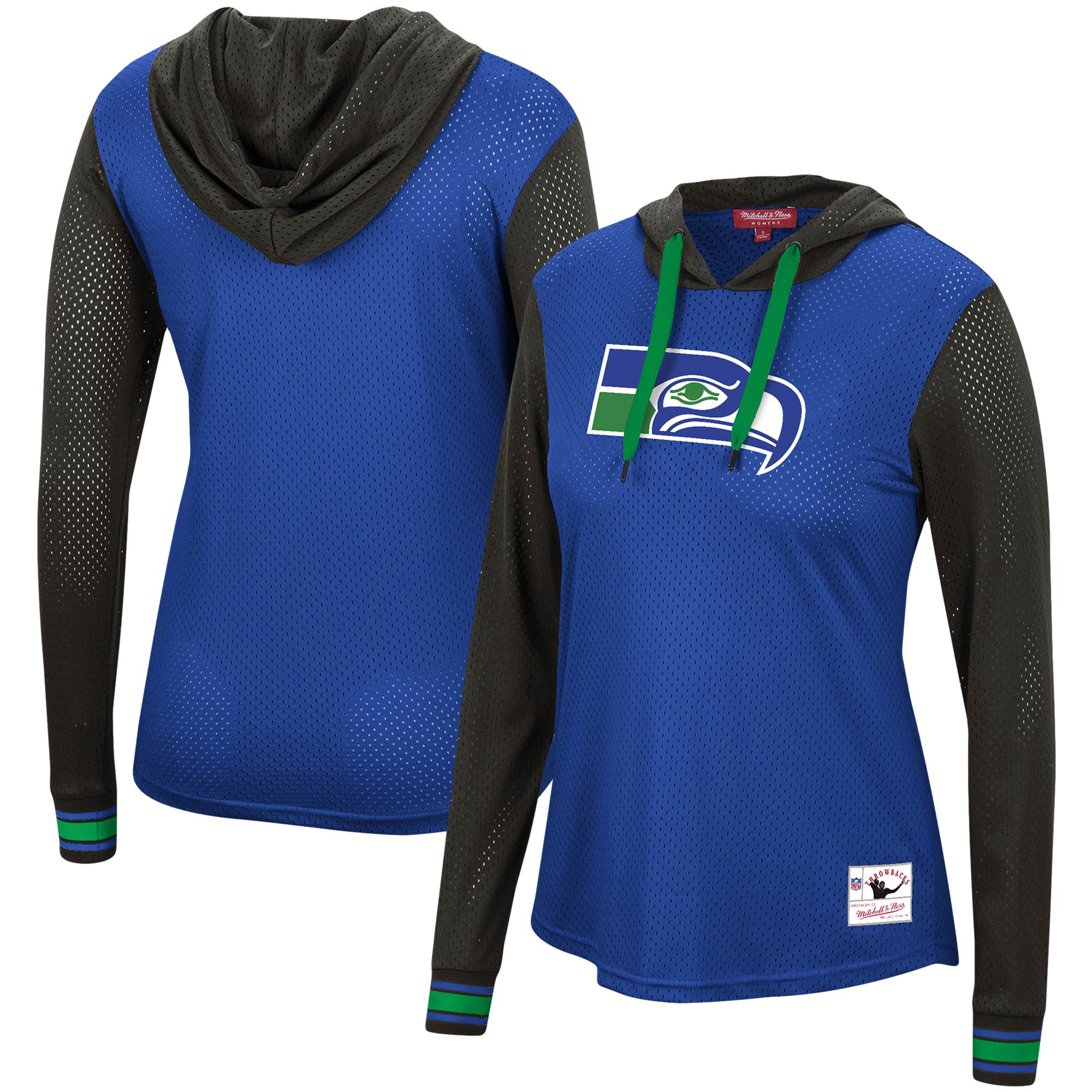 Seattle Seahawks Mitchell & Ness Women's Historic Logo Mesh Hoodie Long Sleeve T-Shirt - Royal/Black