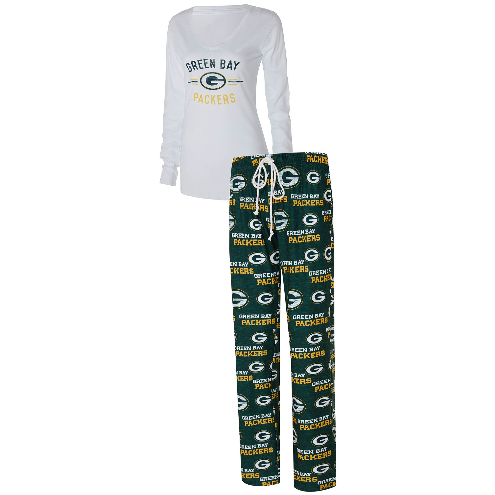 Green Bay Packers Concepts Sport Women's Zest Long Sleeve V-Neck T-Shirt & Pants Sleep Set - White/Green