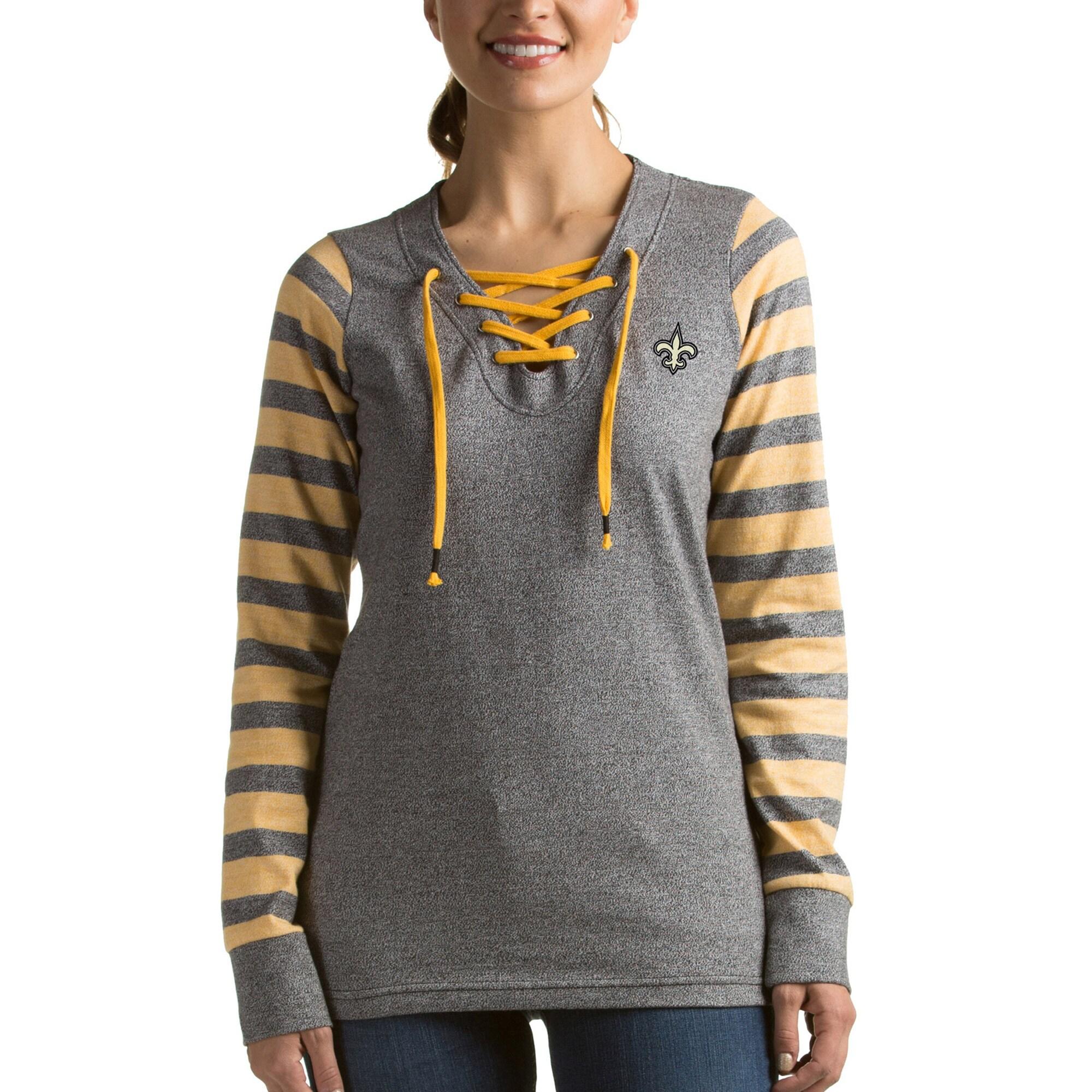 New Orleans Saints Antigua Women's Rumble Lace-Up Sweatshirt - Black