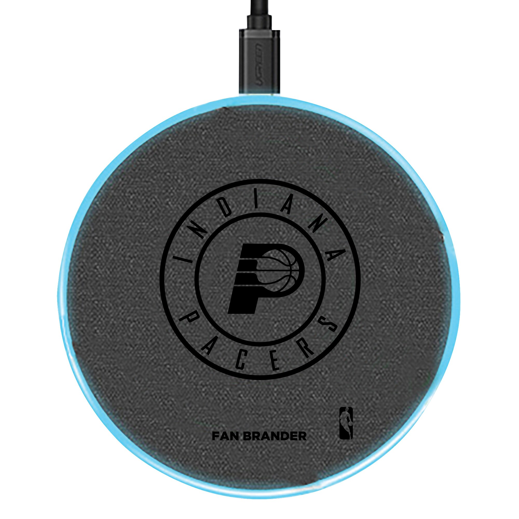 Indiana Pacers 15W Laser Etched Wireless Charging Base - Gray