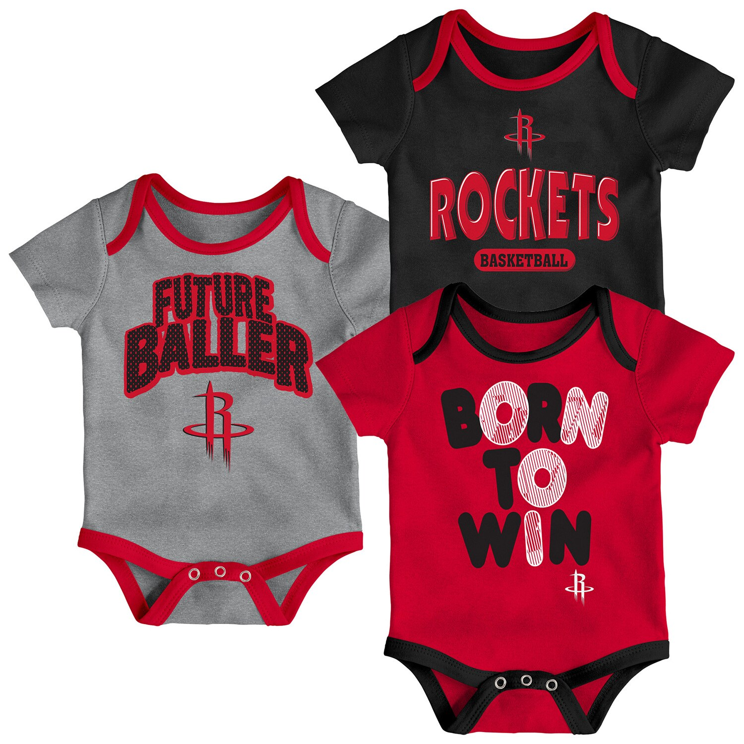 Houston Rockets Newborn Little Fan Three-Pack Bodysuit Set - Red/Black/Heathered Gray