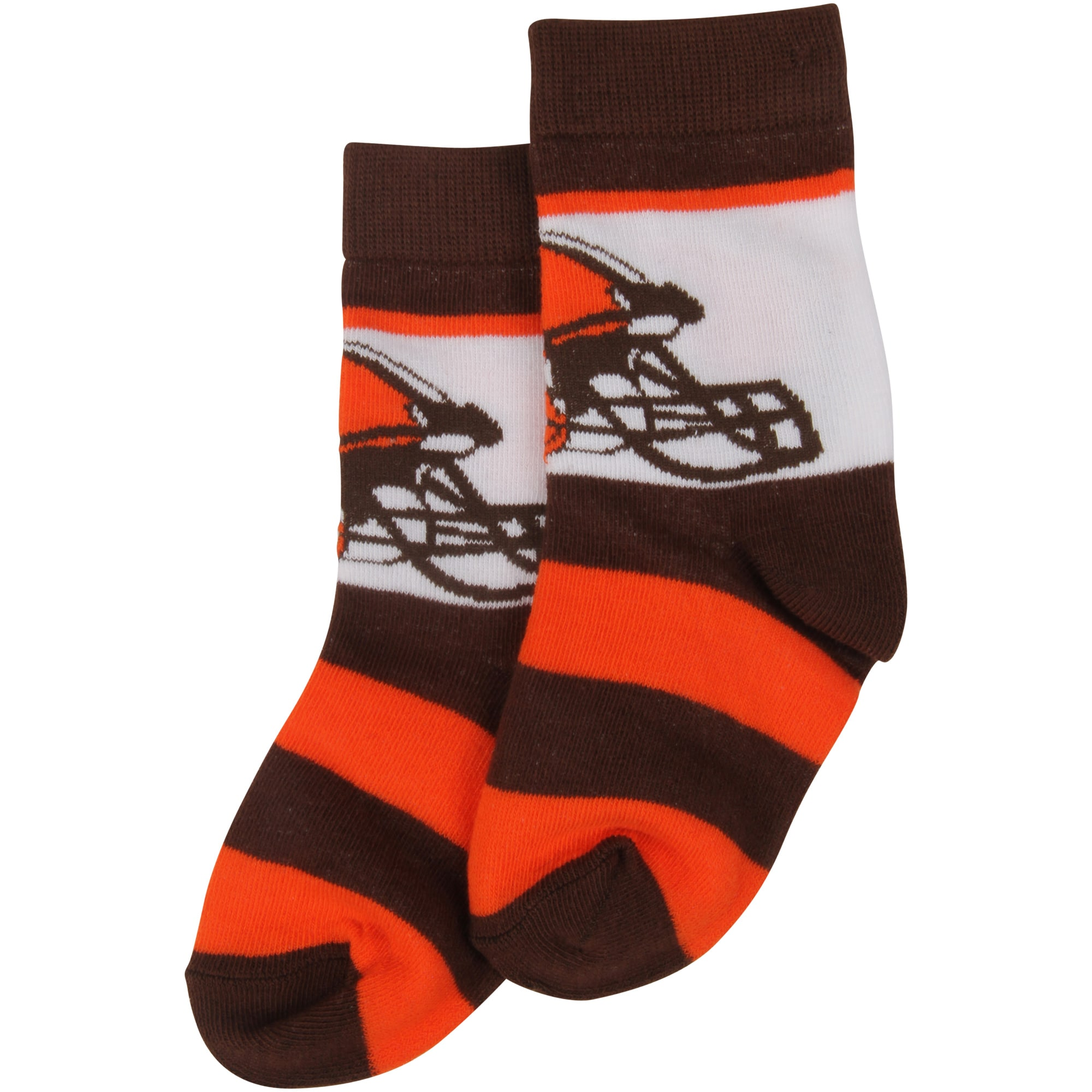 Cleveland Browns For Bare Feet Infant Team Color Rugby Block Socks - Brown/Orange