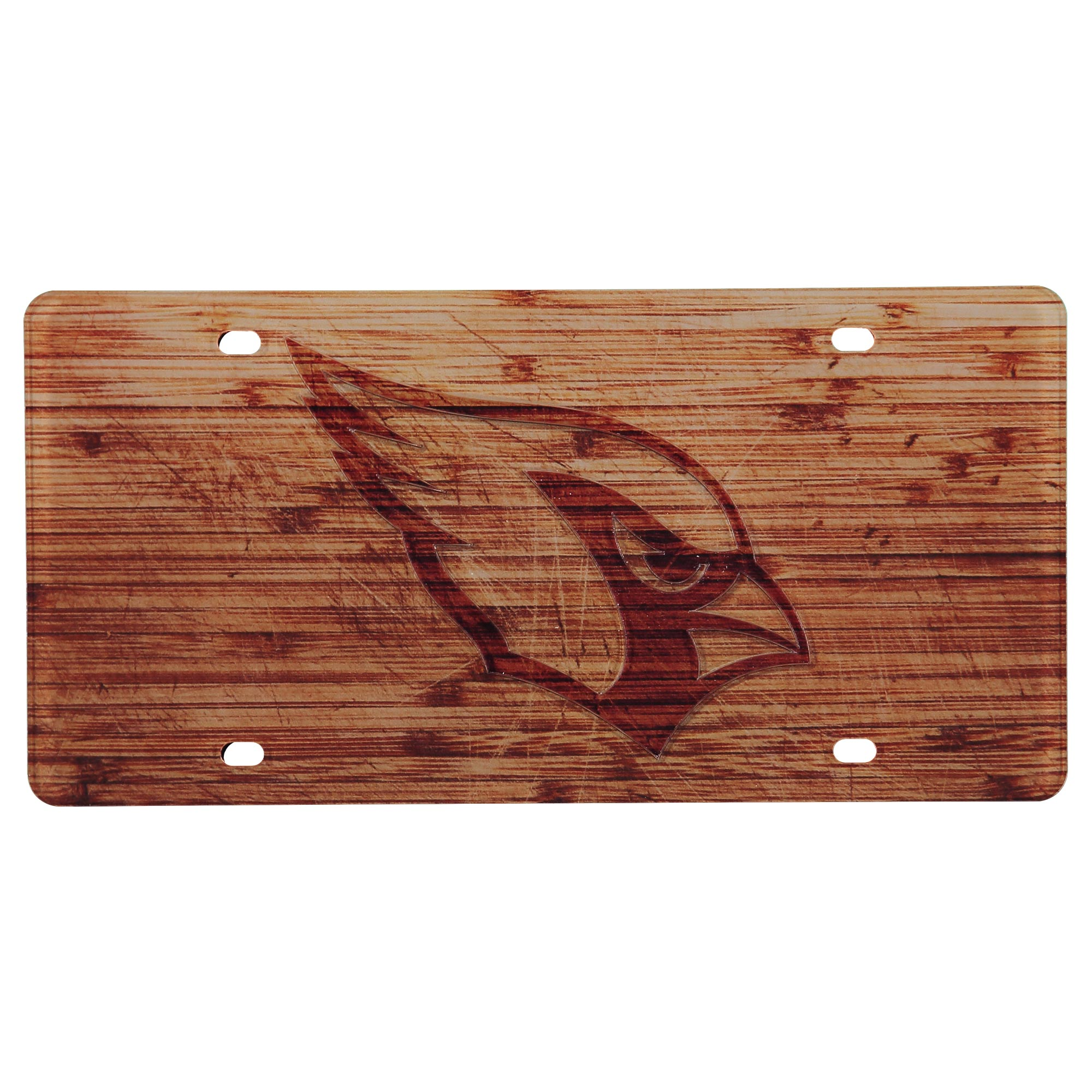 Arizona Cardinals Wood Design Acrylic License Plate