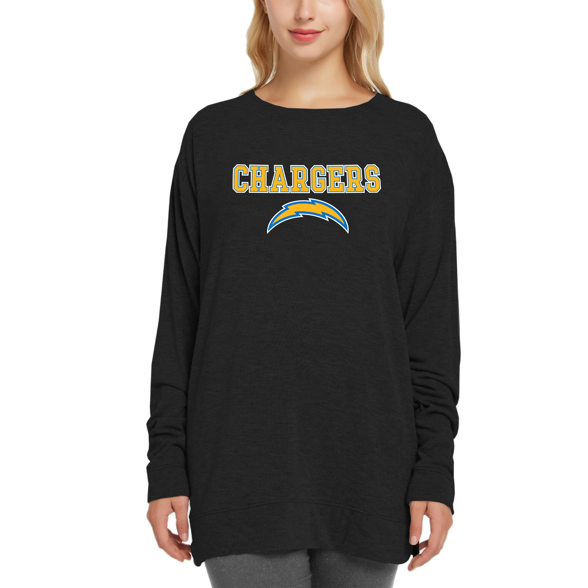Los Angeles Chargers Concepts Sport Women's New Rapture Long Sleeve Top - Black