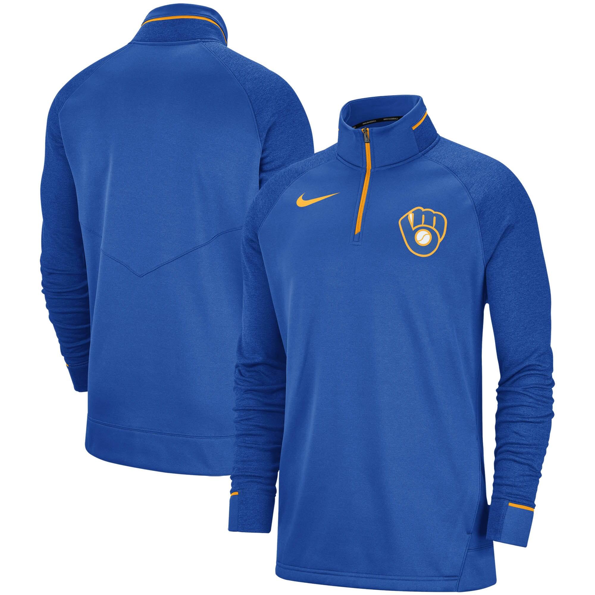 Milwaukee Brewers Nike Elite Game Performance Raglan Sleeve Quarter-Zip Pullover Jacket - Royal