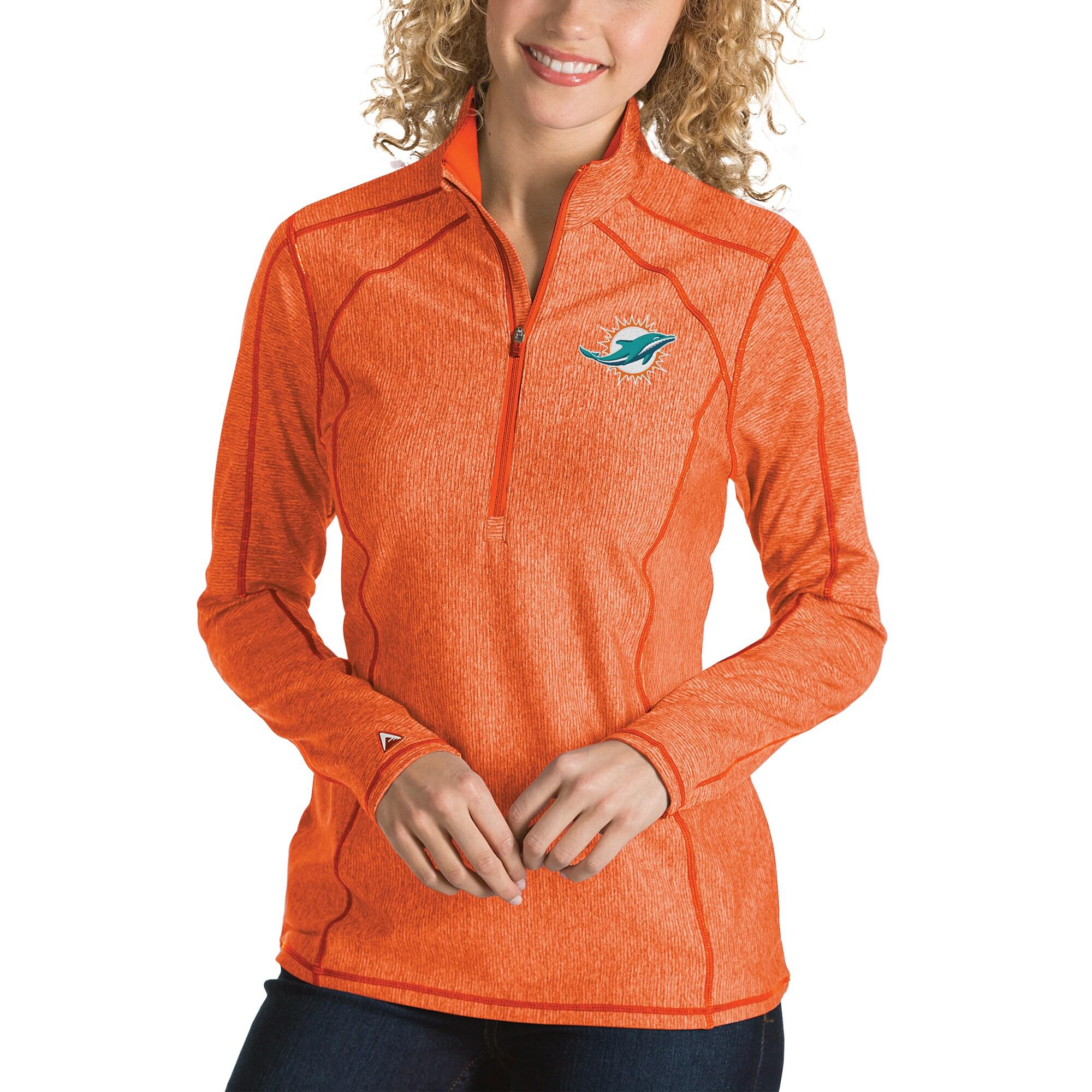 Miami Dolphins Antigua Women's Tempo Desert Dry Quarter-Zip Jacket - Heather Orange