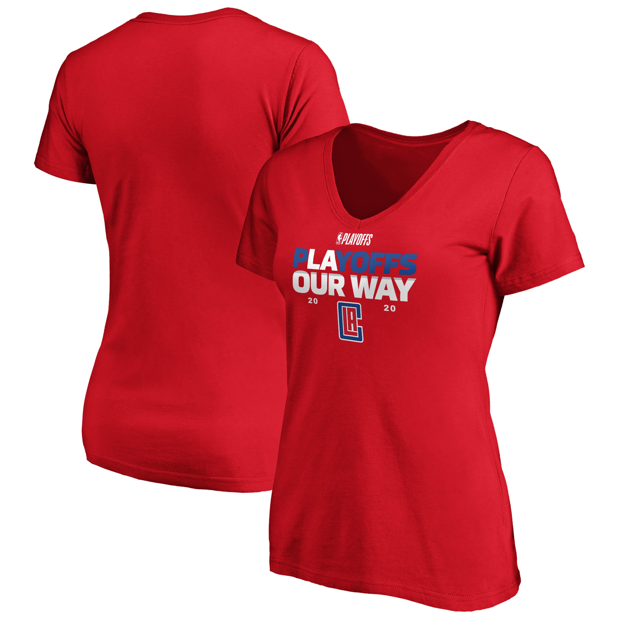 LA Clippers Fanatics Branded Women's 2020 NBA Playoffs Bound Plus Size Tip Off V-Neck T-Shirt - Red