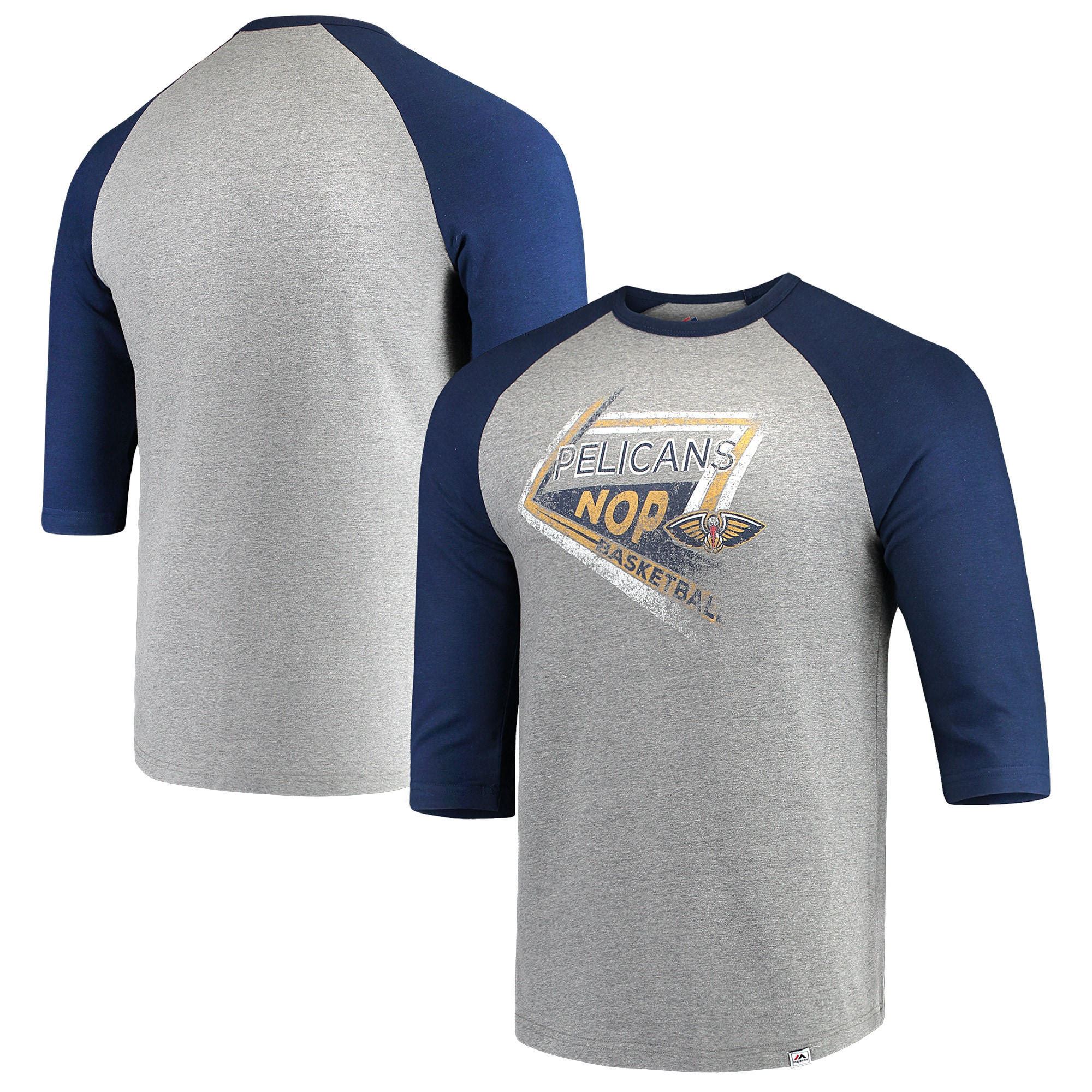 New Orleans Pelicans Majestic Scoring Position Tri-Blend 3/4-Sleeve Raglan T-Shirt - Heathered Gray/Navy