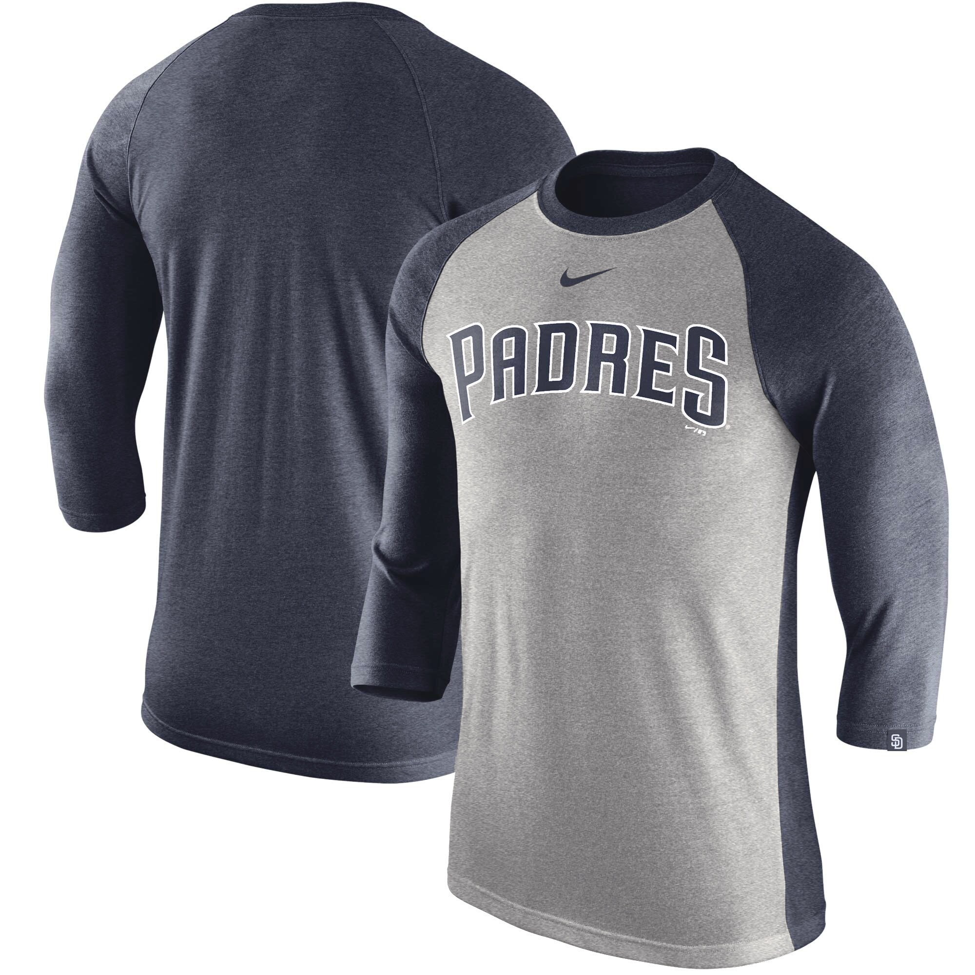San Diego Padres Nike MLB Tri-Blend Raglan 3/4-Sleeve T-Shirt - Gray/Navy