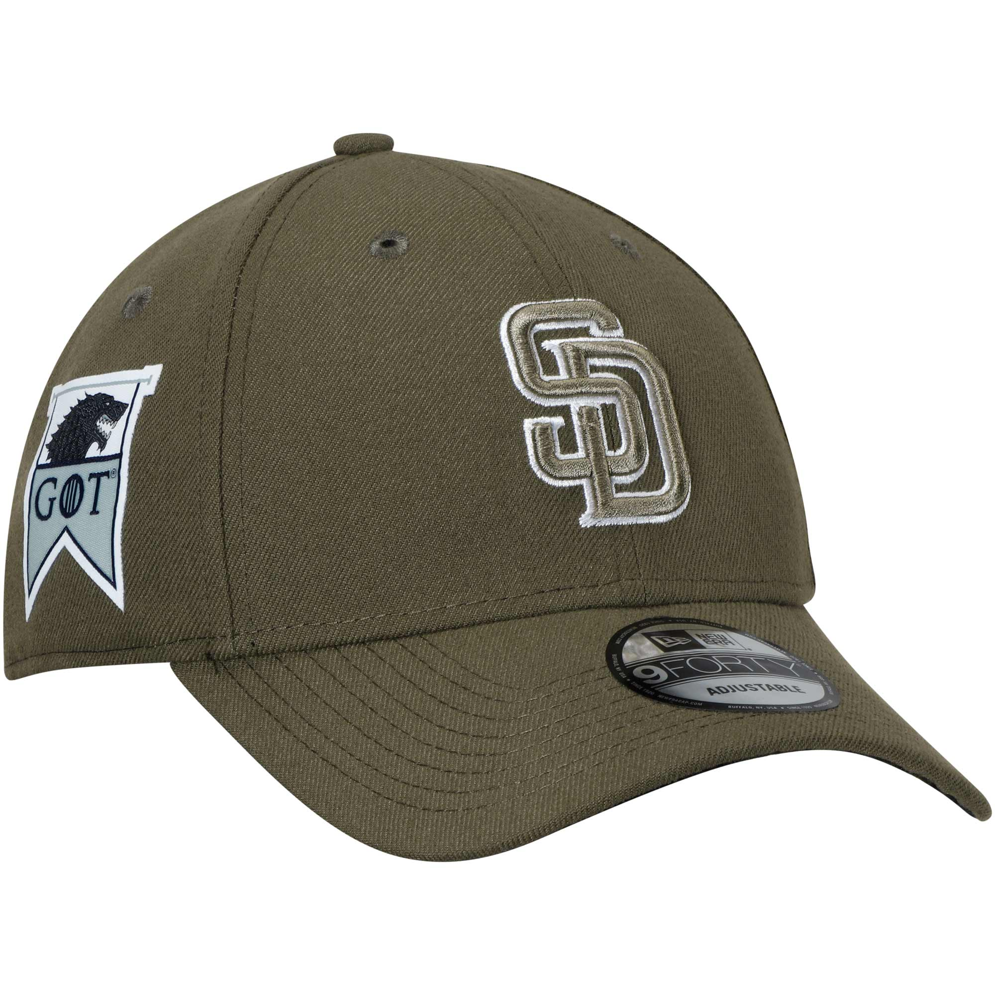 San Diego Padres New Era Game of Thrones 9FORTY Adjustable Hat - Green