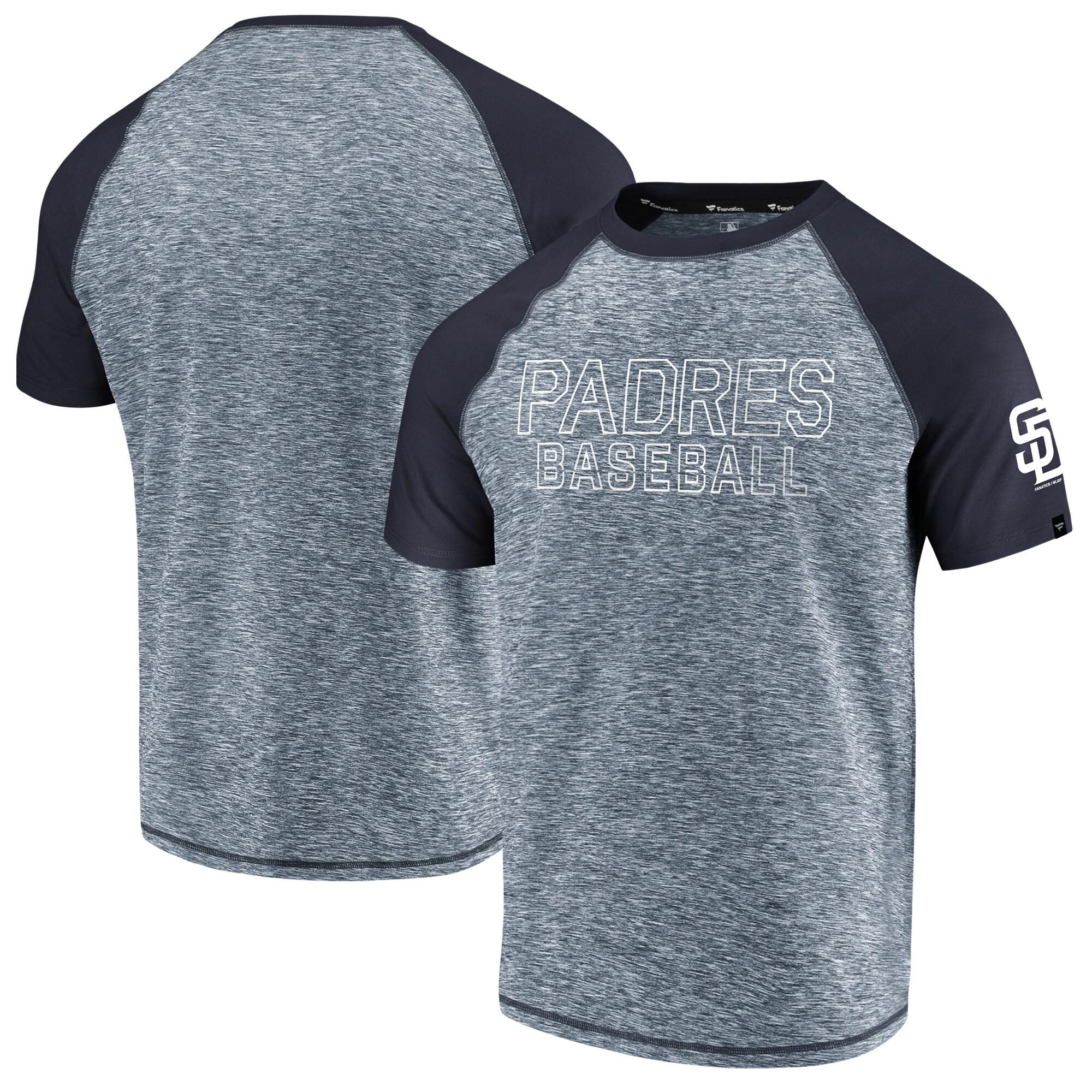 San Diego Padres Fanatics Branded Made to Move Raglan T-Shirt - Heathered Navy/Navy