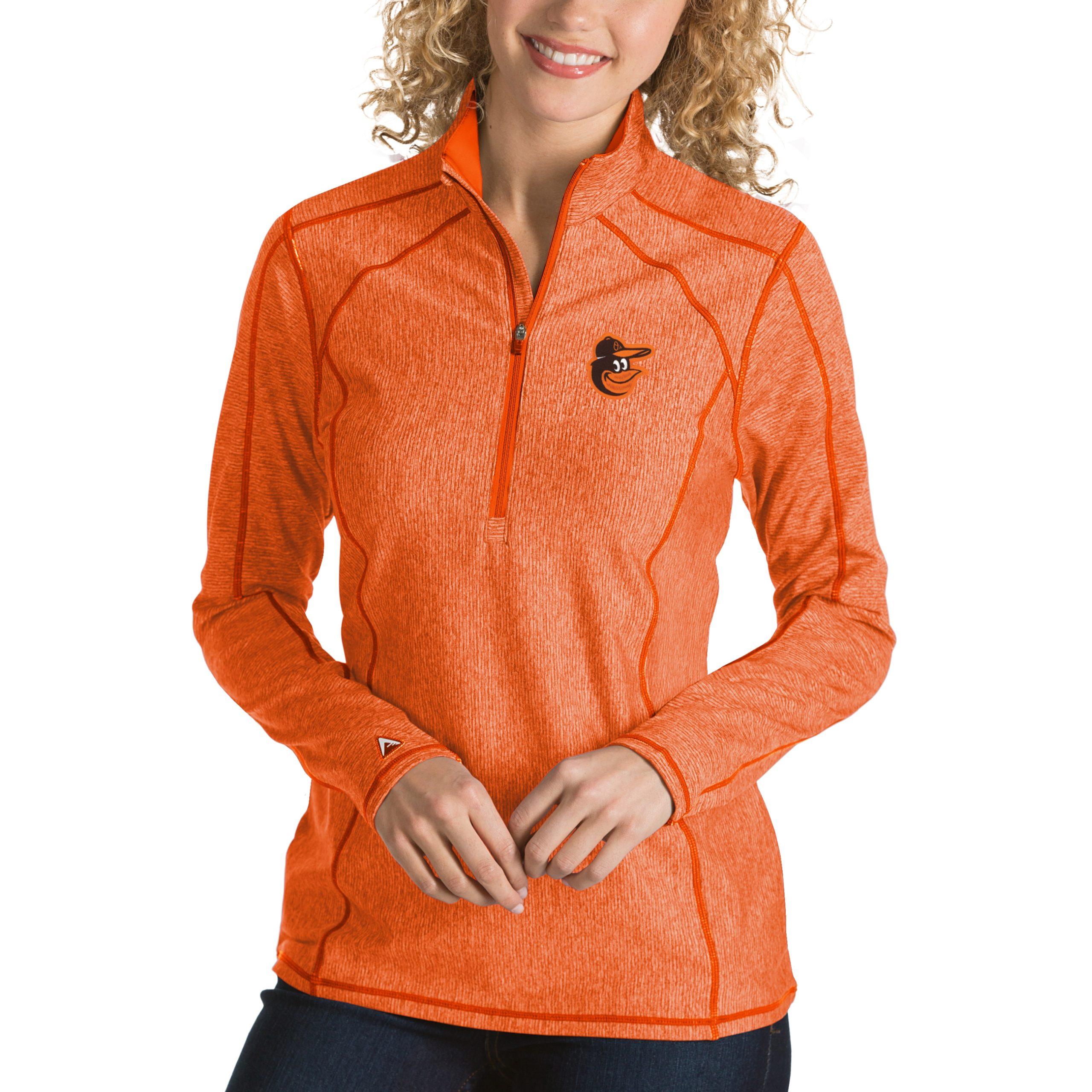 Baltimore Orioles Antigua Women's Tempo Desert Dry 1/4-Zip Pullover Jacket - Heathered Orange