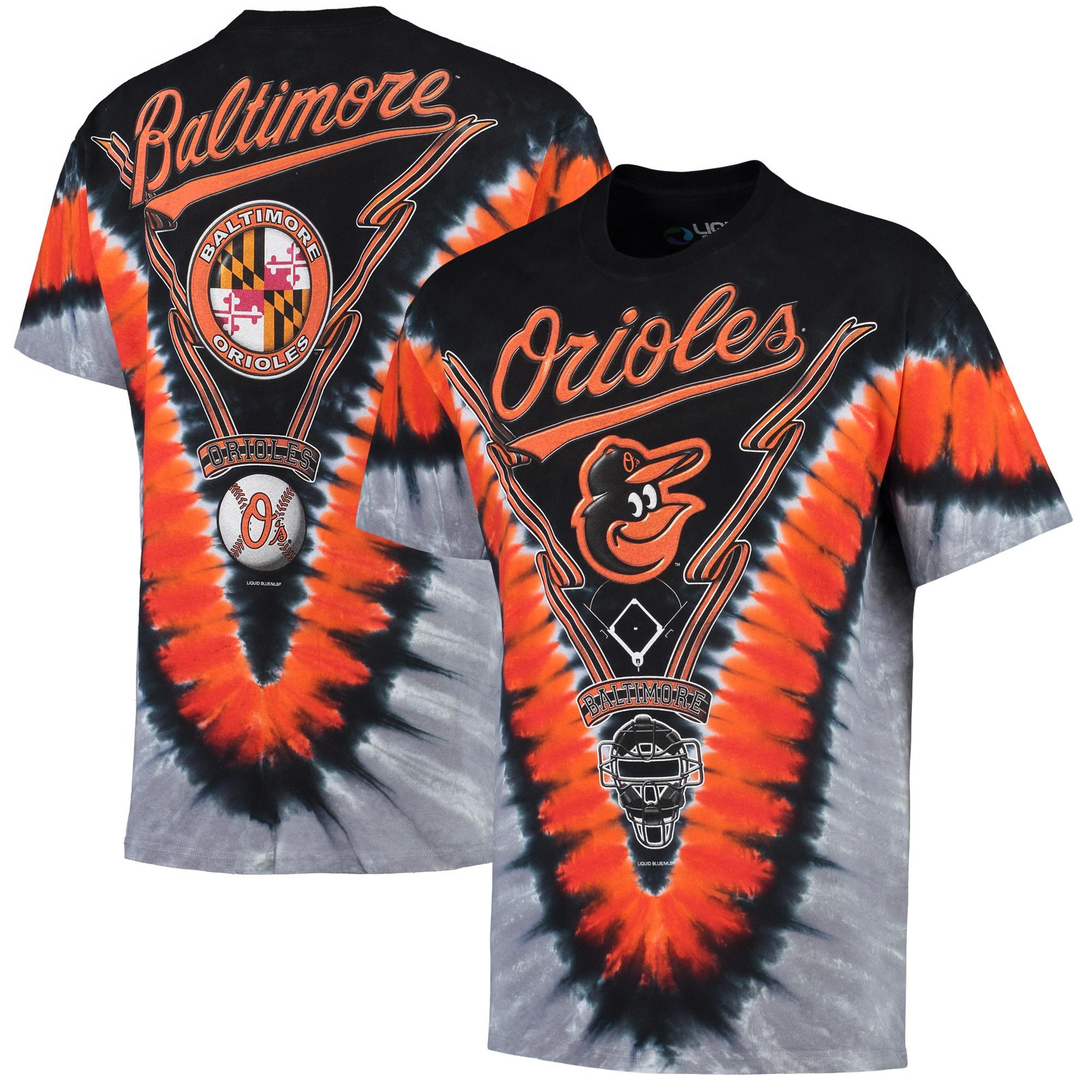 Baltimore Orioles V Tie-Dye T-Shirt - Black/Orange