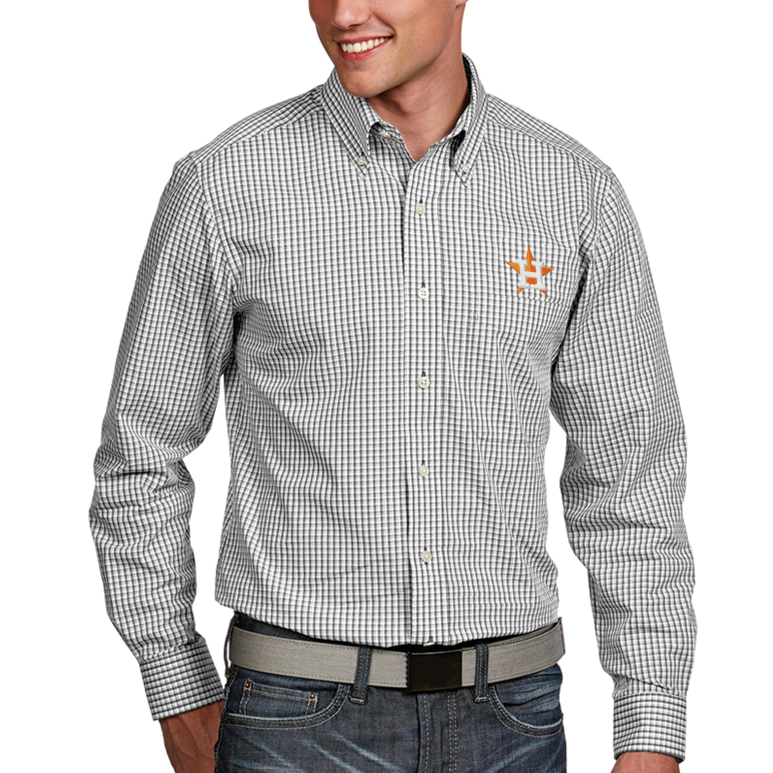 Houston Astros Antigua Associate Button-Down Dress Long Sleeve Shirt - White