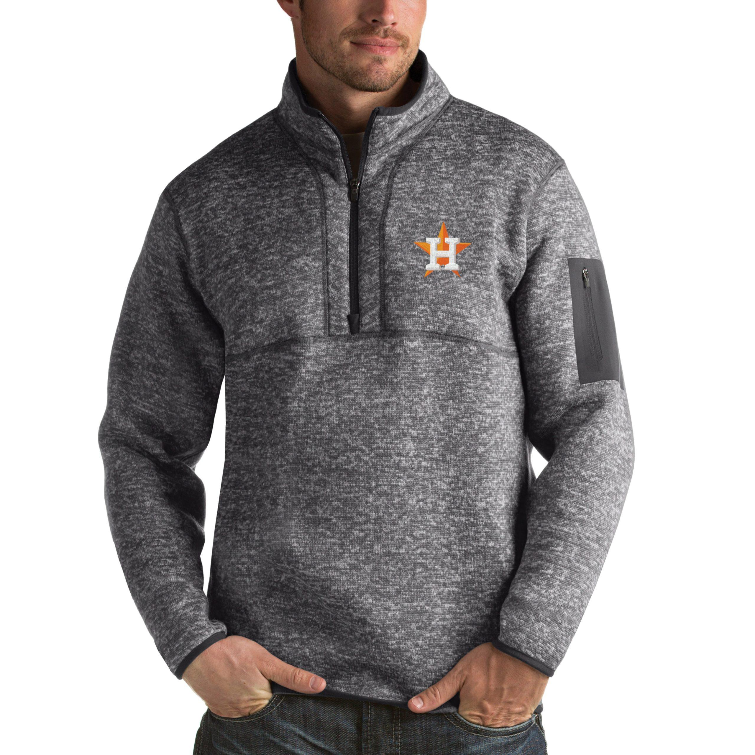 Houston Astros Antigua Fortune Half-Zip Sweater - Heathered Charcoal