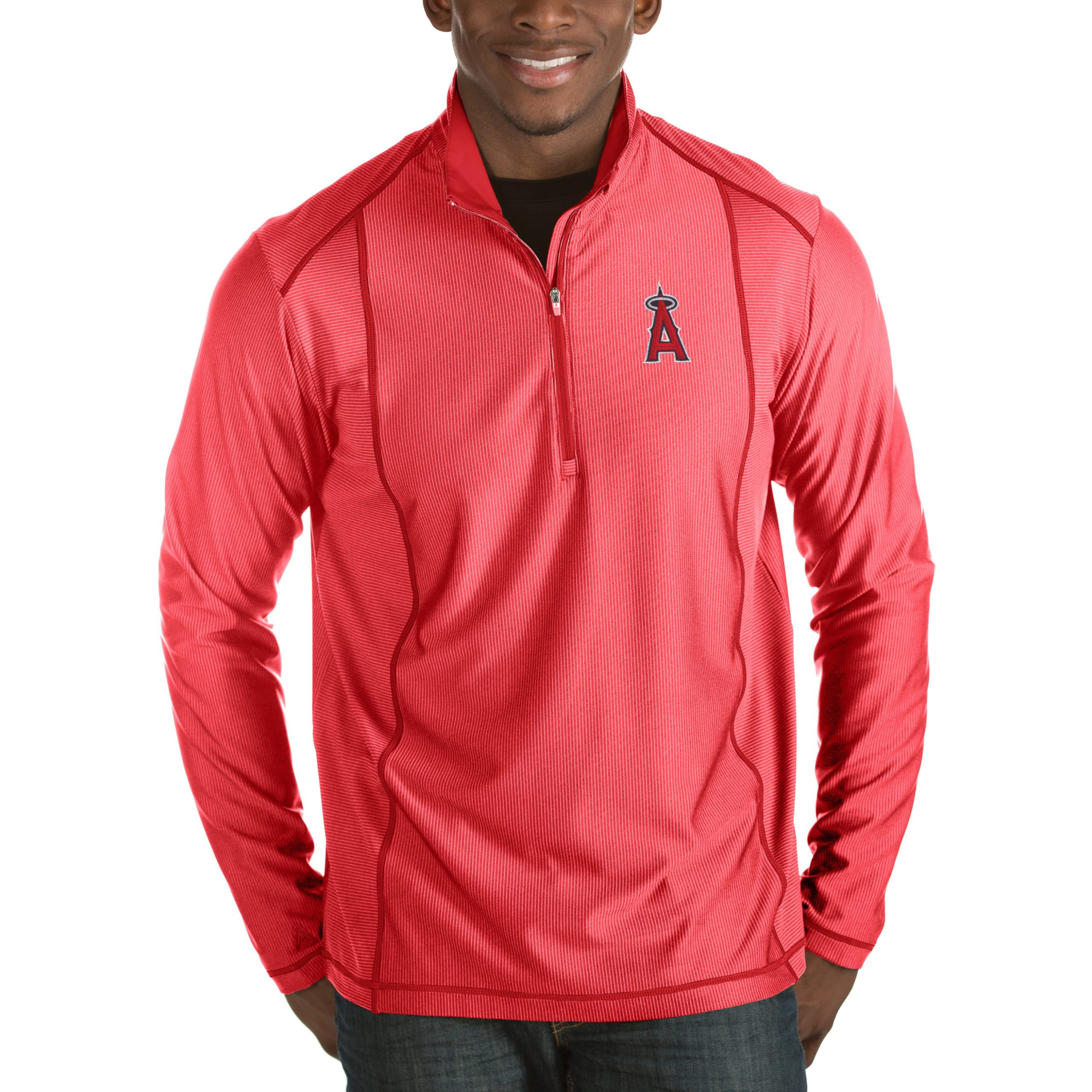 Los Angeles Angels Antigua Tempo Half-Zip Pullover Jacket - Heathered Red