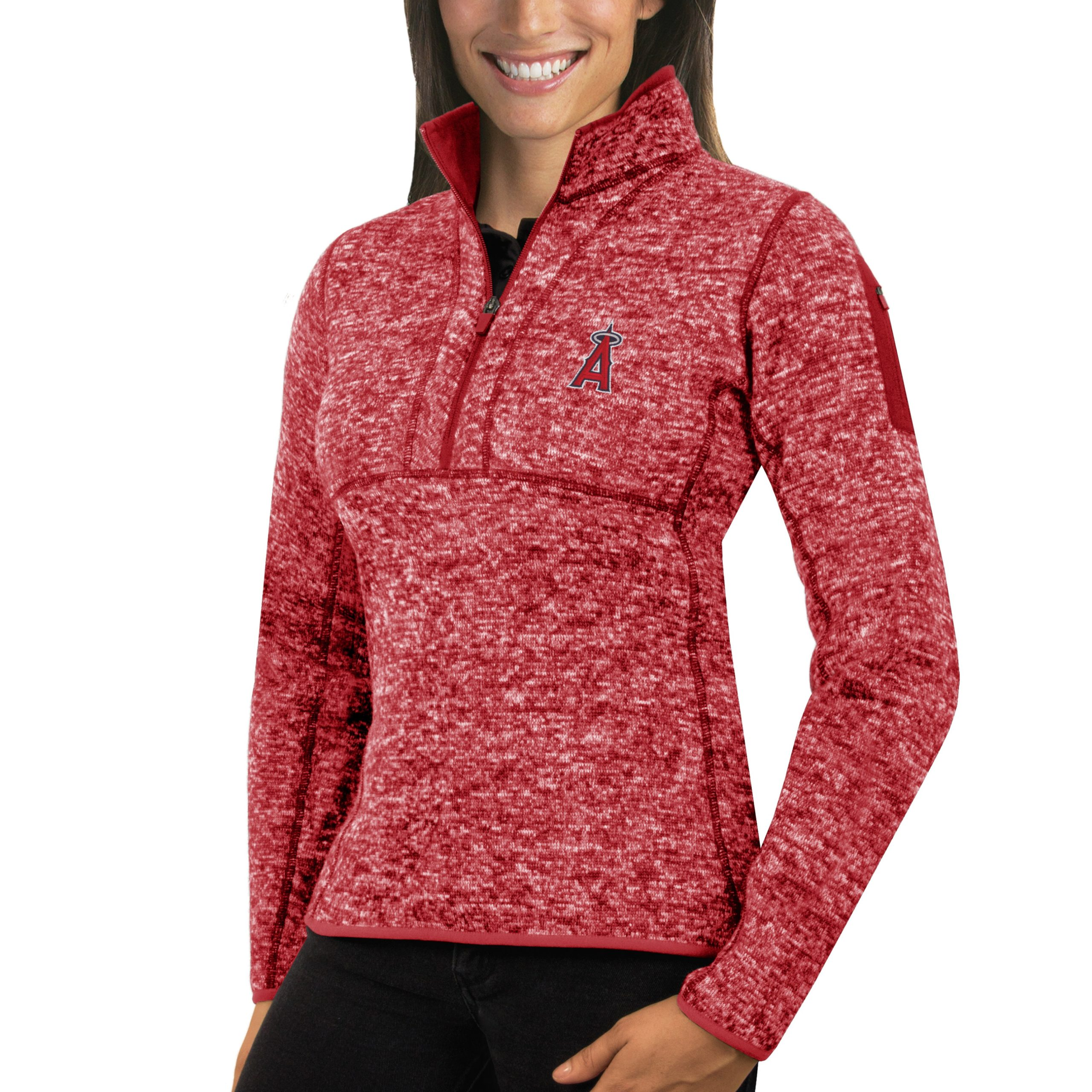 Los Angeles Angels Antigua Women's Fortune Half-Zip Pullover Sweater - Heathered Red