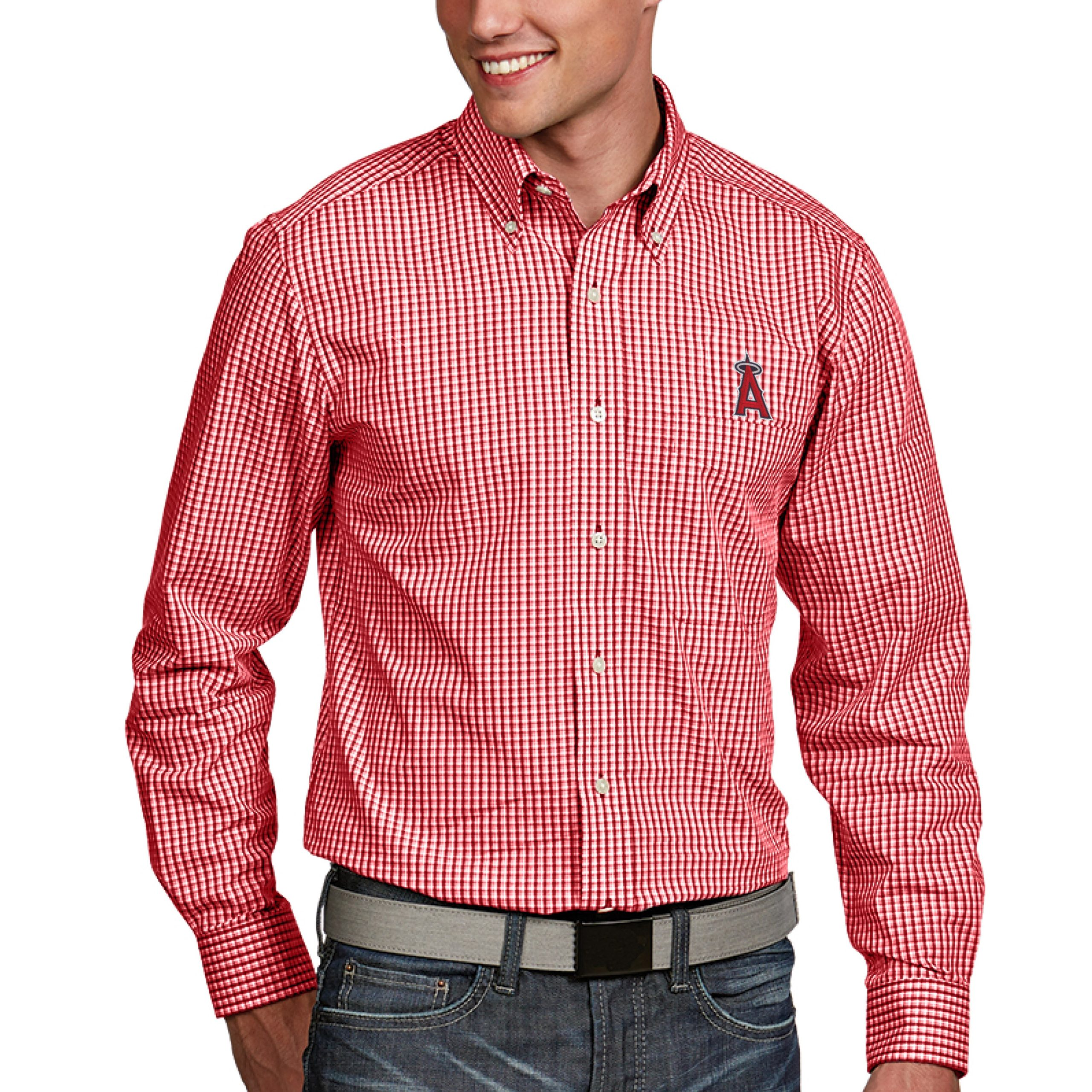 Los Angeles Angels Antigua Associate Button-Down Dress Long Sleeve Shirt - Red